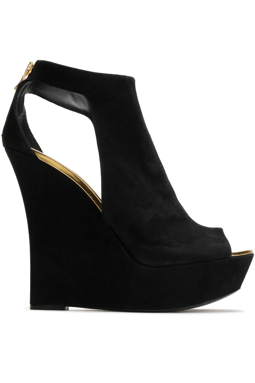Balmain. Women's Black Amaya Cutout Suede Platform Sandals