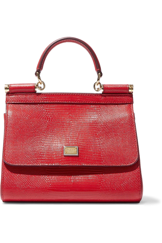 d09a51027c1c Dolce   Gabbana. Women s Woman Sicily Lizard-effect Leather Shoulder Bag Red