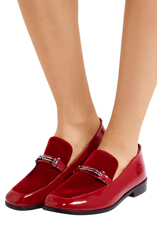 6ae2bb06759 Newbark Melanie Velvet-paneled Patent-leather Loafers in Red - Lyst