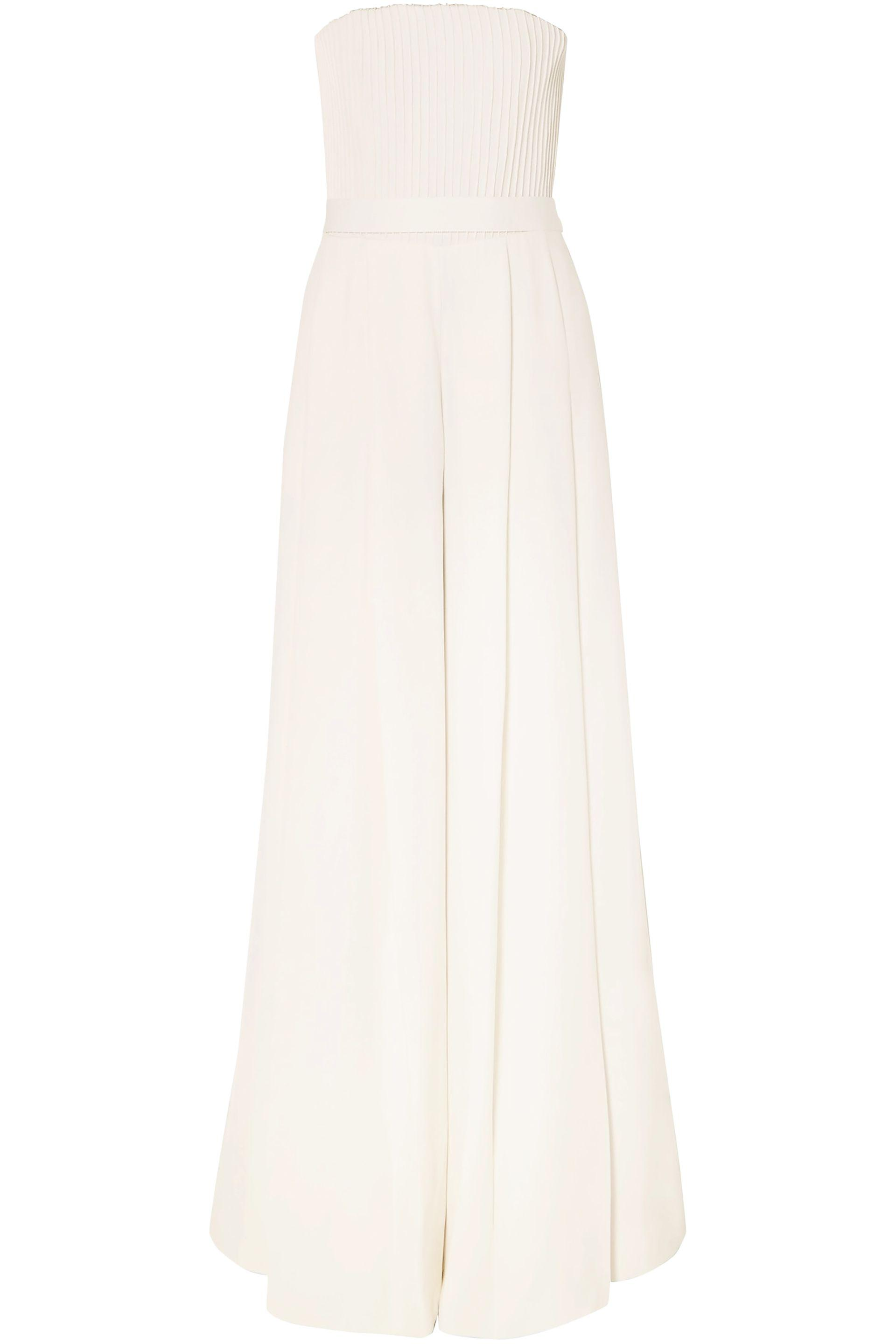 a87cbfb5b26 Lyst - Brandon Maxwell Strapless Pintucked Crepe Jumpsuit in White