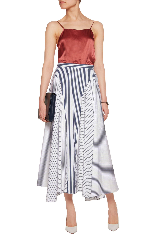 Asymmetric Striped Cotton-poplin Midi Skirt - White Adam Lippes Fashionable For Sale Sale Online Shopping Cheap New Arrival kBt5pz4j
