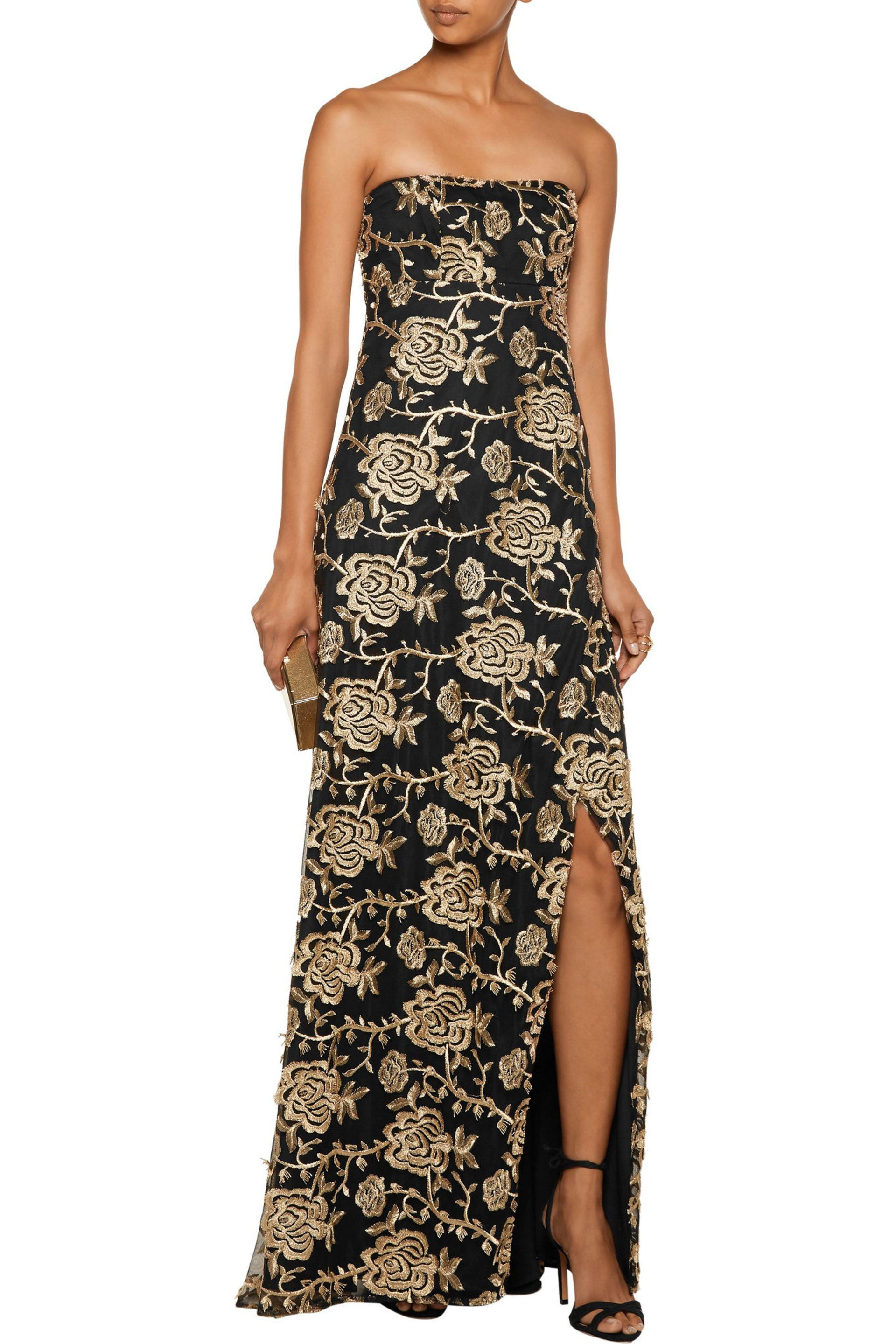 Mikael Aghal | Metallic Strapless Embroidered Tulle Gown | Lyst. View  Fullscreen