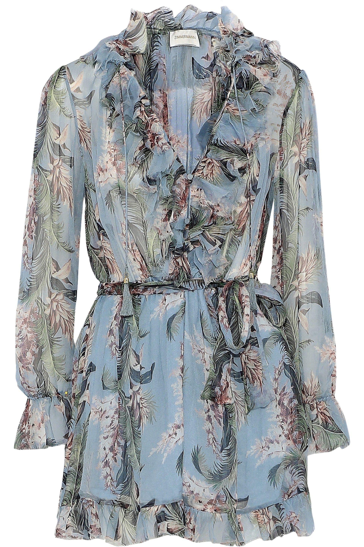 df9cf393b3 Lyst - Zimmermann Ruffle-trimmed Floral-print Silk-georgette ...