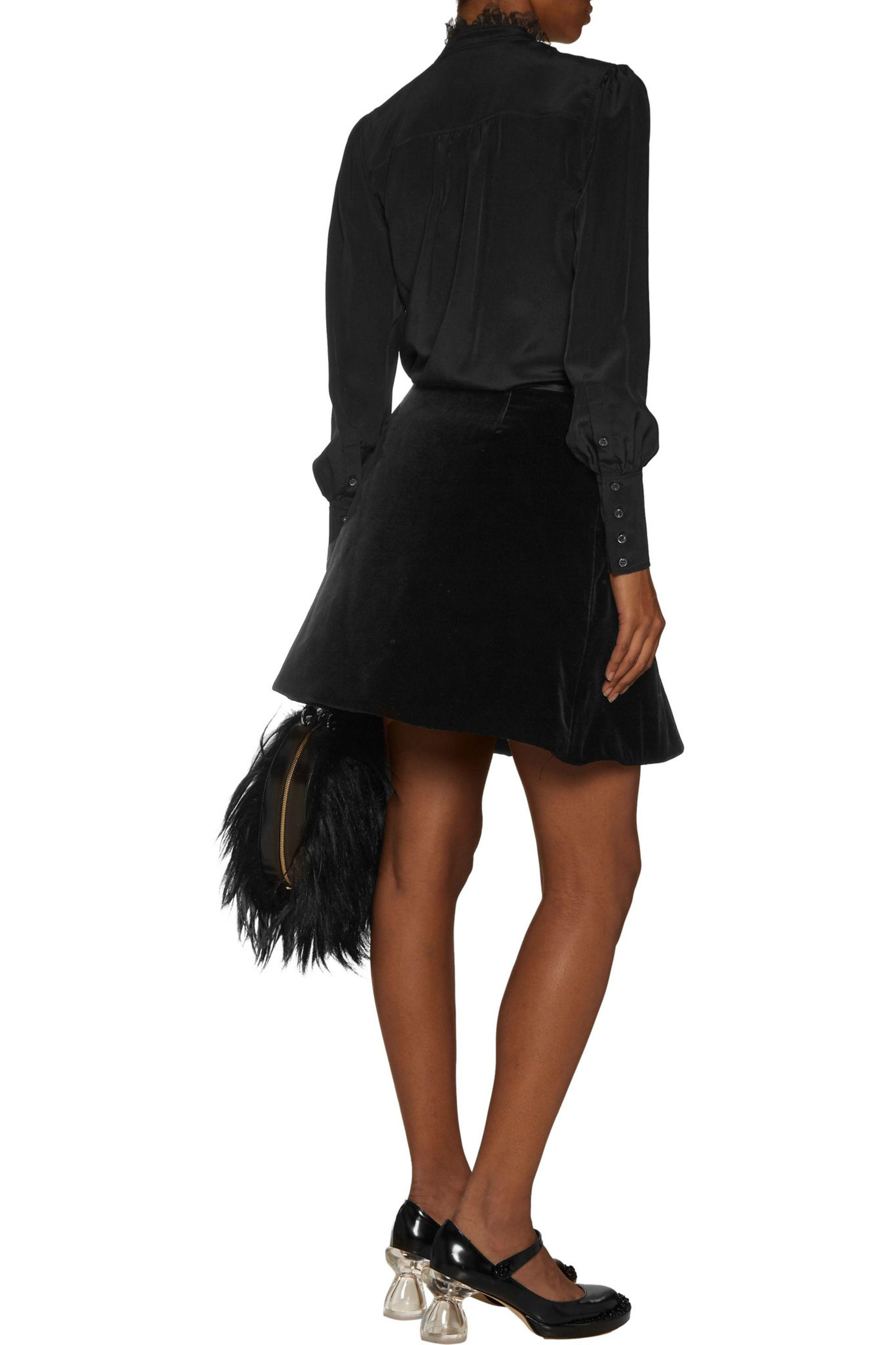 Simone Rocha - Black Wrap-effect Velvet Mini Skirt - Lyst. View Fullscreen