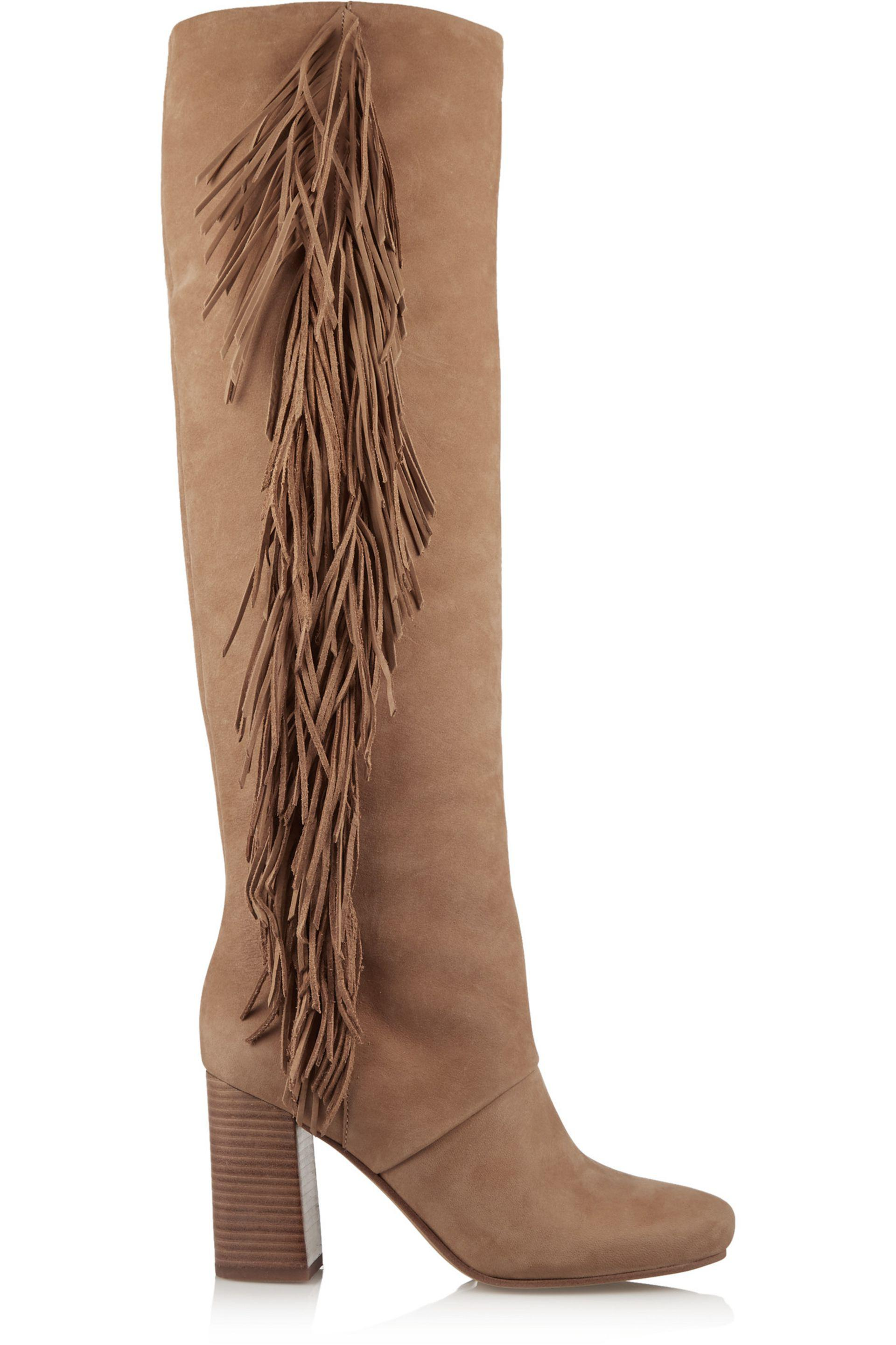 Sam Edelman. Women's Brown Taylan Fringed Nubuck Knee Boots