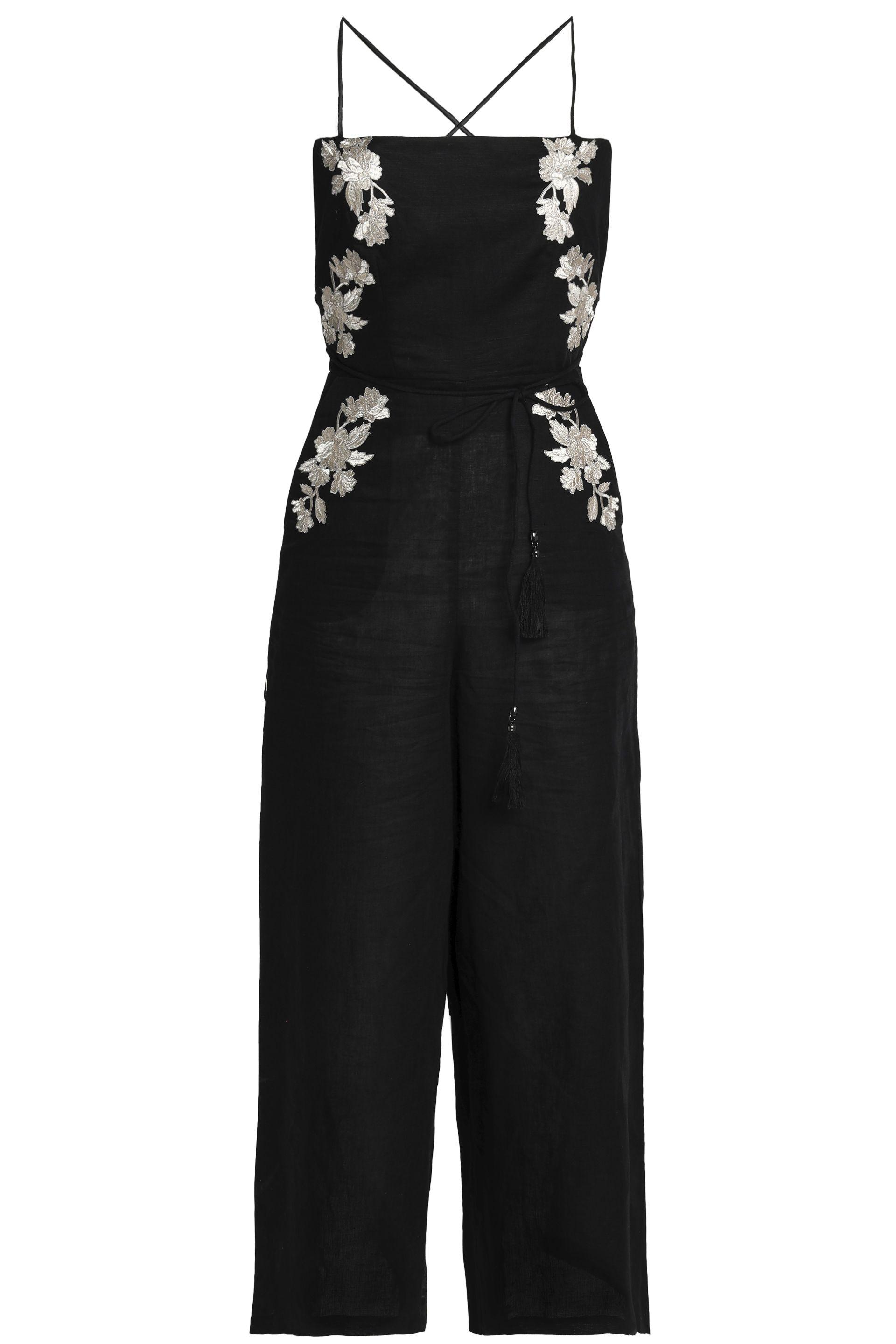 418101096622 Zimmermann. Women s Woman Open-back Metallic Embroidered Linen Wide-leg  Jumpsuit Black