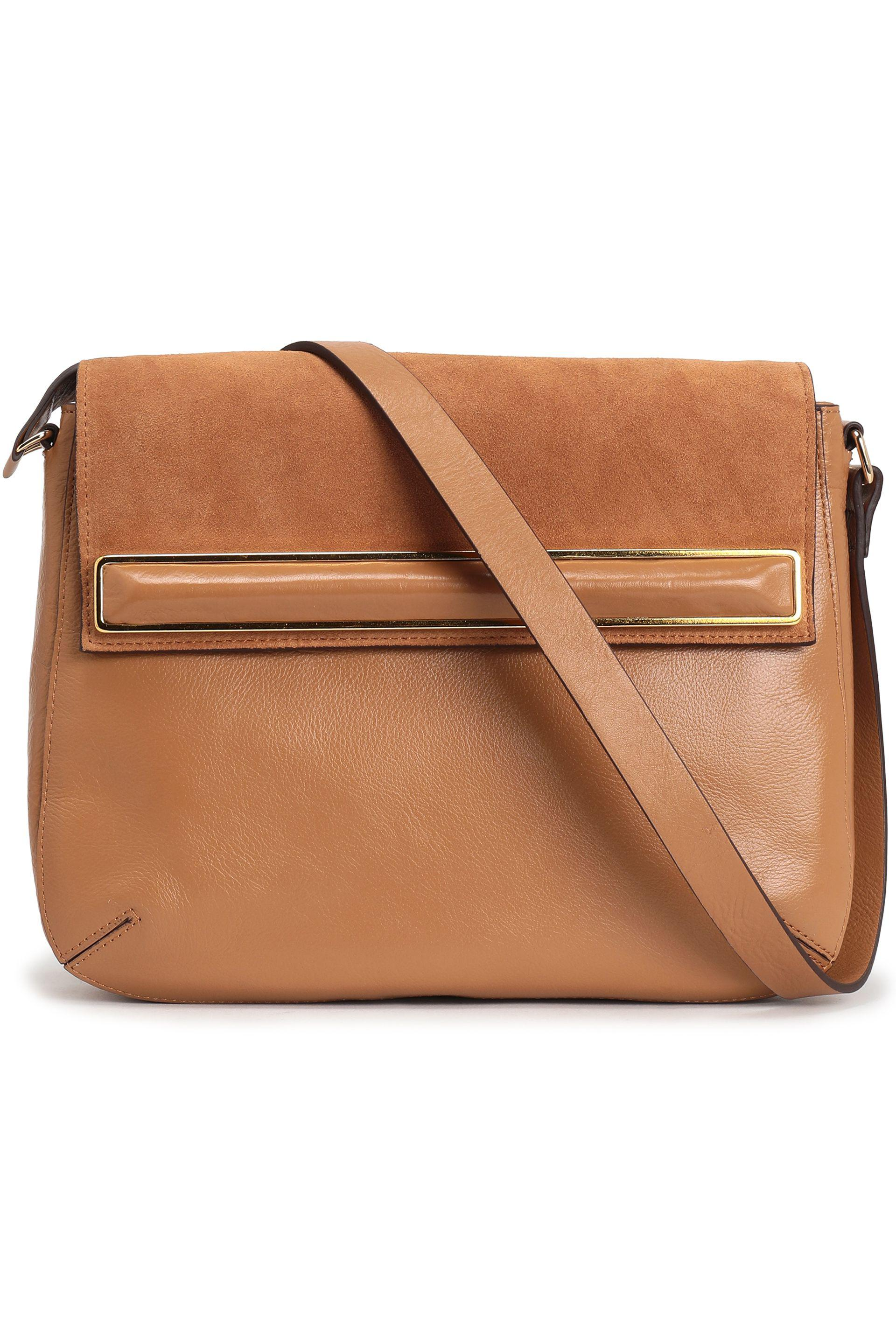 5f9f3a42038 Halston Suede-paneled Leather Shoulder Bag in Brown - Lyst