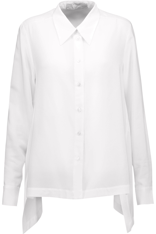 ca305111df59d4 Stella McCartney - Woman Jones Draped Silk Crepe De Chine Blouse White -  Lyst. View fullscreen