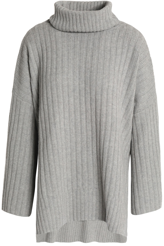 b86eda719e49 Joseph Ribbed Wool Turtleneck Sweater in Gray - Lyst