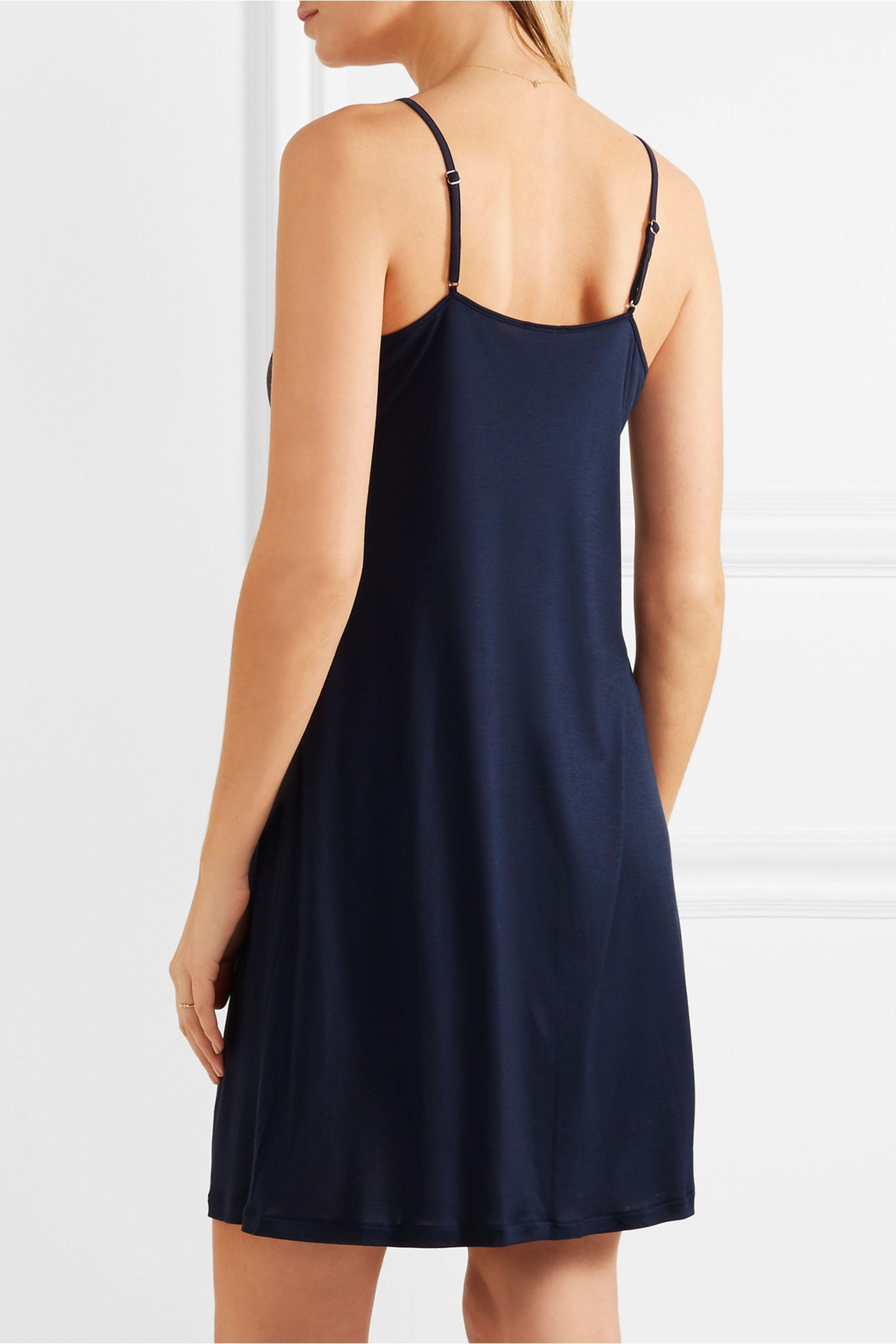 6c0ccdc462a4 Lyst - Hanro Livia Lace-trimmed Modal-jersey Nightdress in Blue