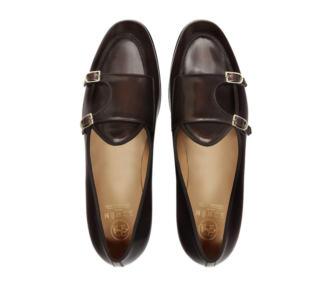 8b49e933967c7 Edhen Milano Brown Leather Brera Double-monk Strap Loafers in Brown ...