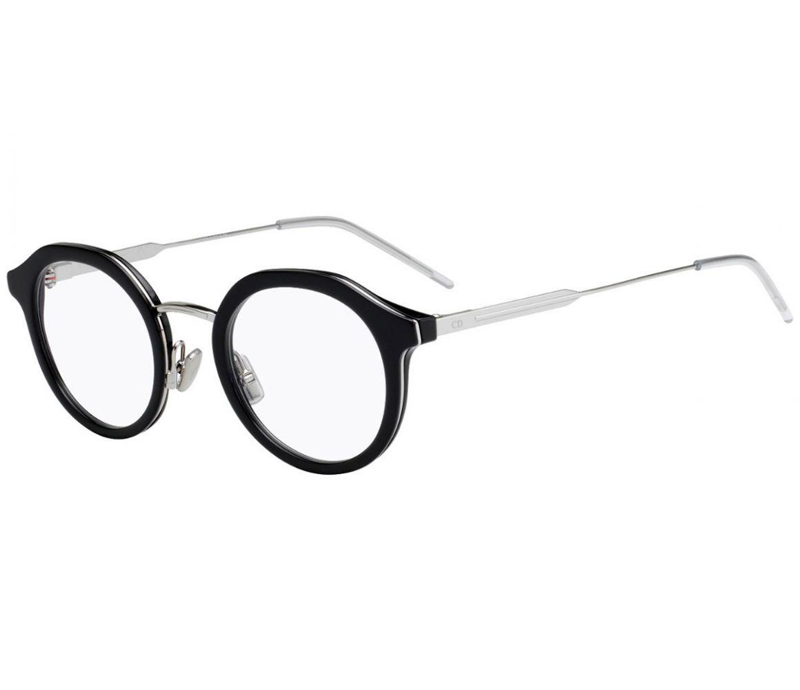 46e1567464c Dior Homme Black And Silver Round Frames With Clear Lenses Eyewear ...