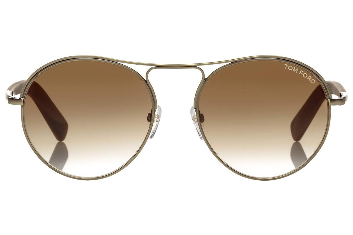 0e01ef20ad Lyst - Tom Ford Jessie Round Cream And Brown Horn Frame With Brown ...
