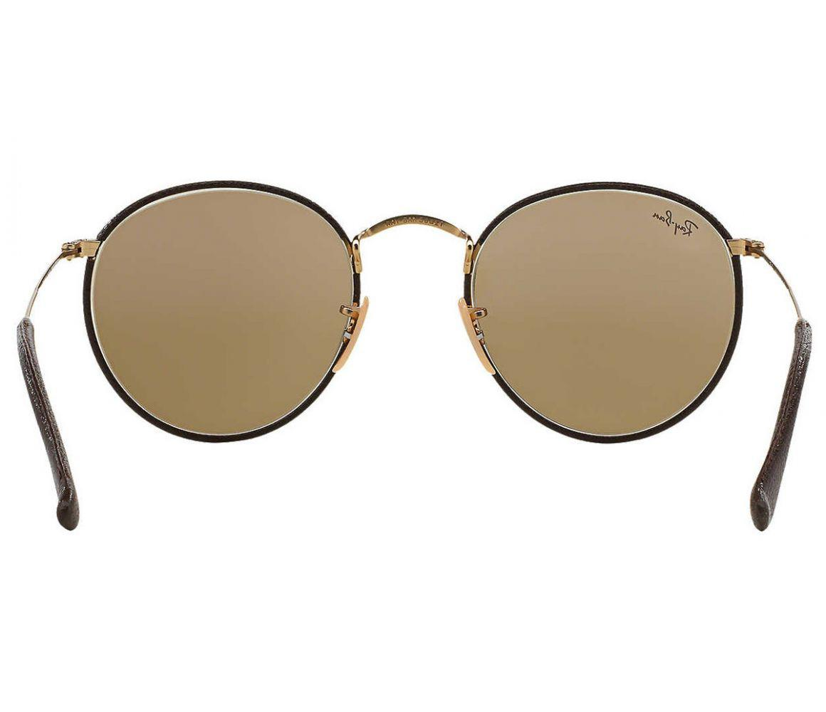 ac349ac567 Ray-Ban - Round Craft Rb3475q 112 53 Brown Leather And Gold Frame With.  View fullscreen
