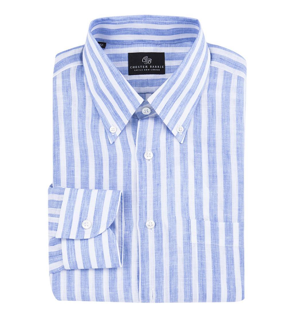 9333b0ce8 chester-barrie-white-White-And-Blue-Stripe-Button-Down-Collar-Linen-Shirt .jpeg