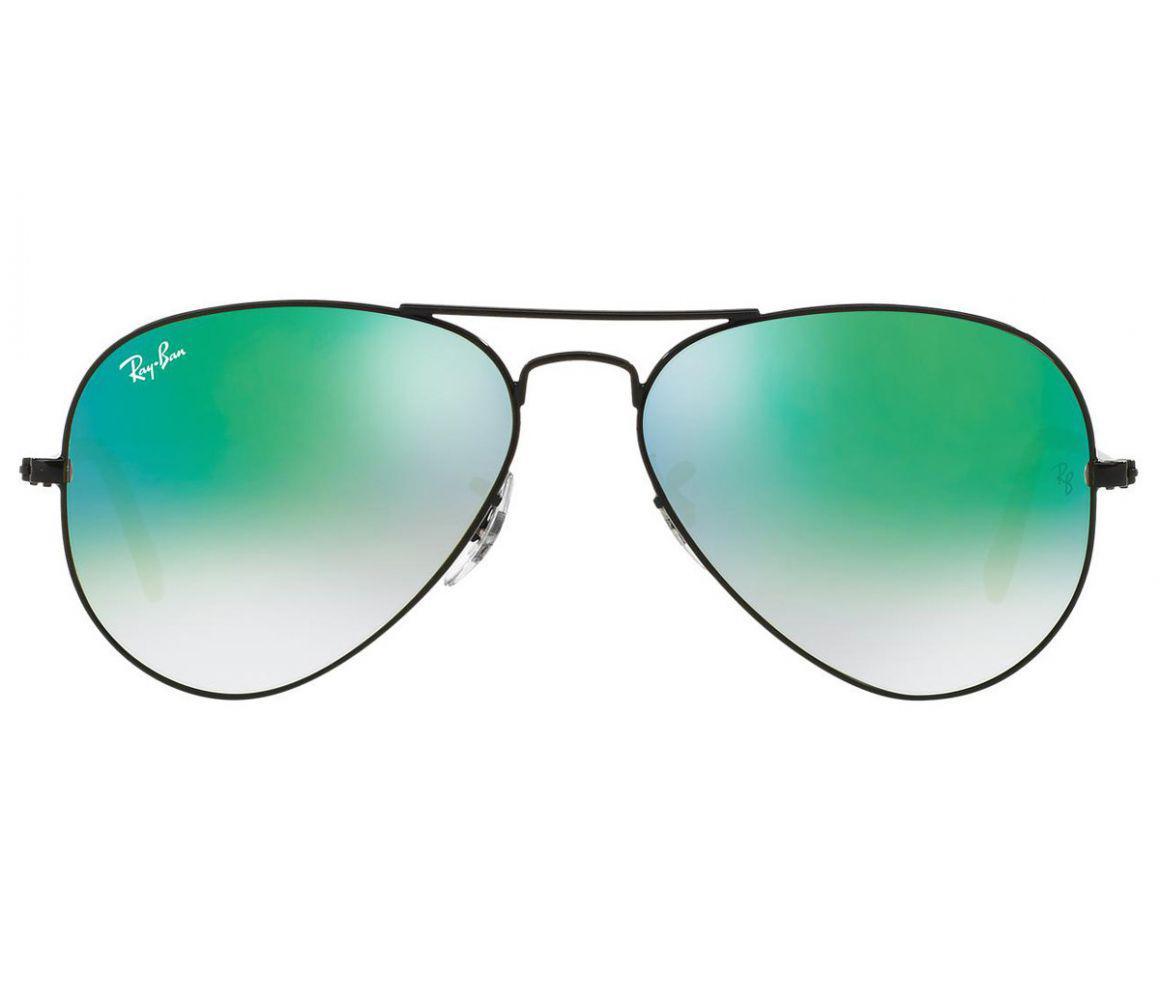 355328b0f7ef53 Ray-Ban. Men s Aviator Flash Rb3025 002 4j Black Frames With Blue Lenses  Sunglasses