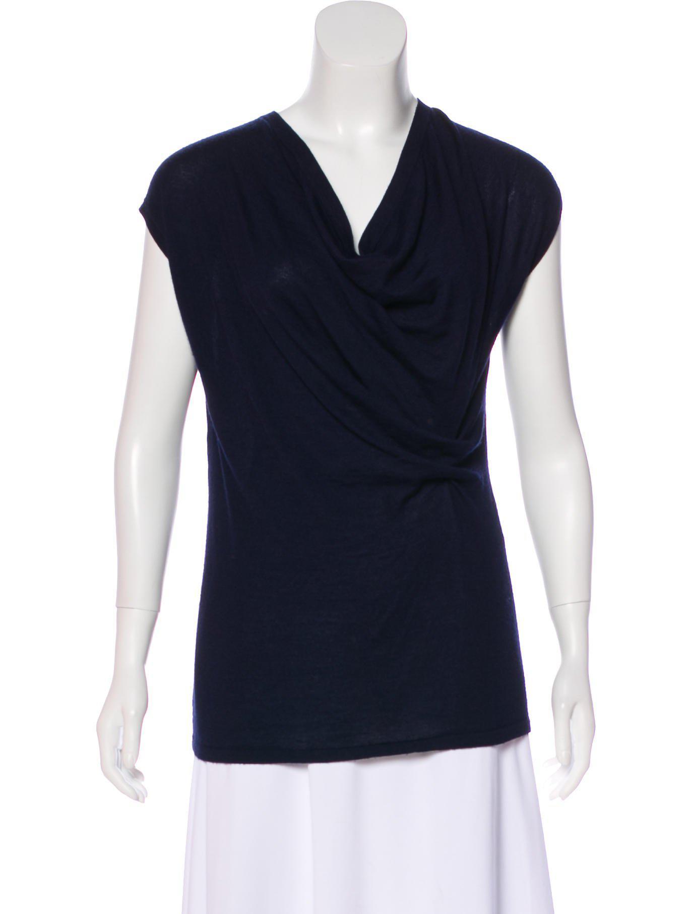 1764cf7a5e0a2 Lyst - Derek Lam Short Sleeve Cashmere Top in Blue