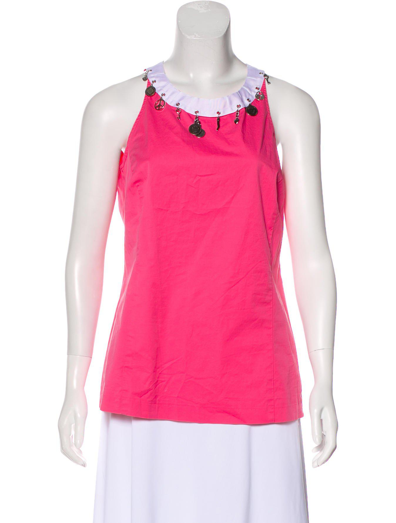 Love Moschino Embellished Sleeveless Top Clearance Discount Free Shipping Real Discount Clearance Store Low Cost Online ZvZs9oN