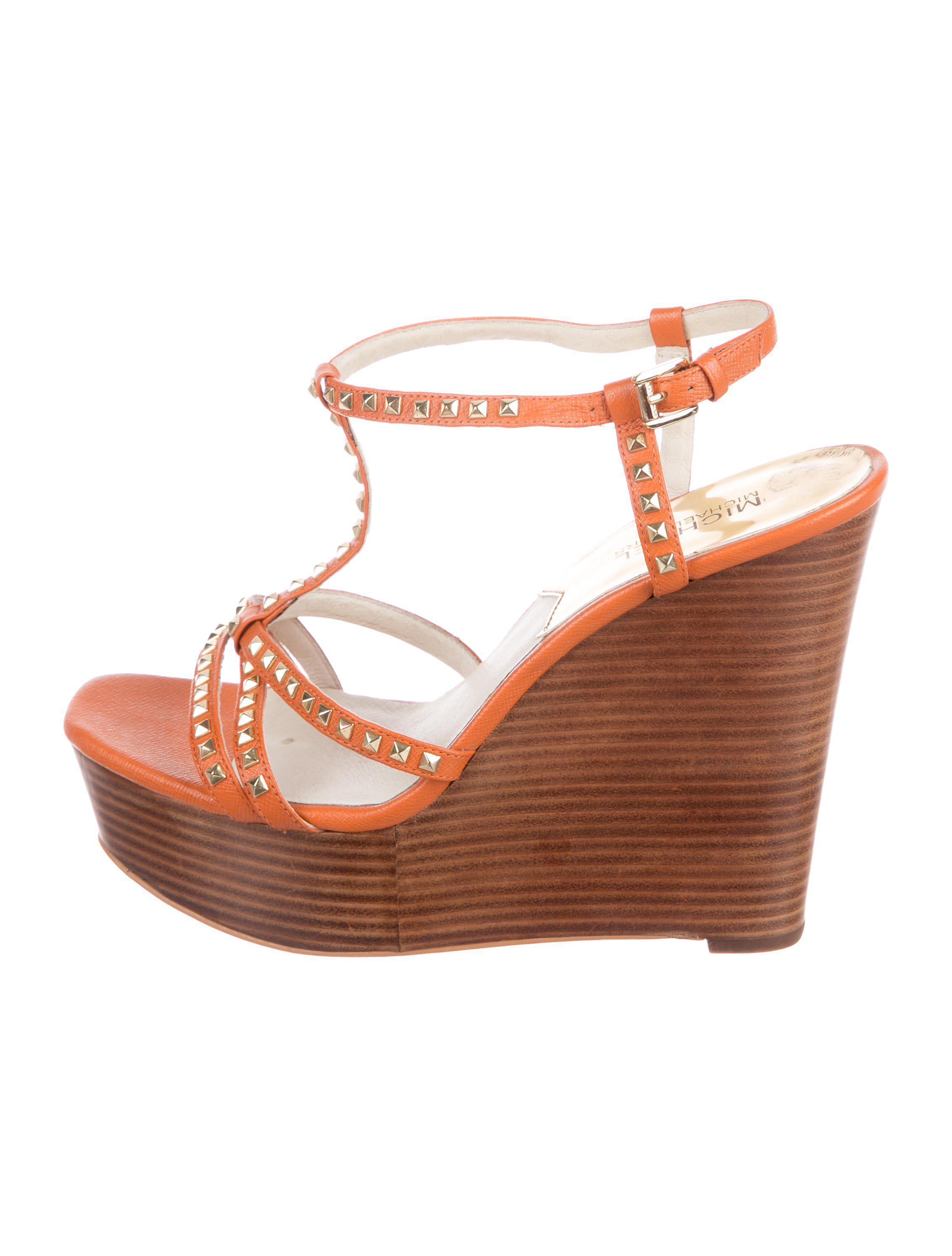 778bd2e99361 MICHAEL Michael Kors. Women s Metallic Michael Kors Leather Studded Wedges  Orange