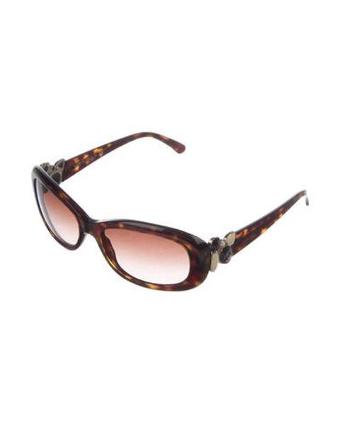 3d100d385c5 Lyst - Chanel Embellished Cc Sunglasses Brown in Metallic