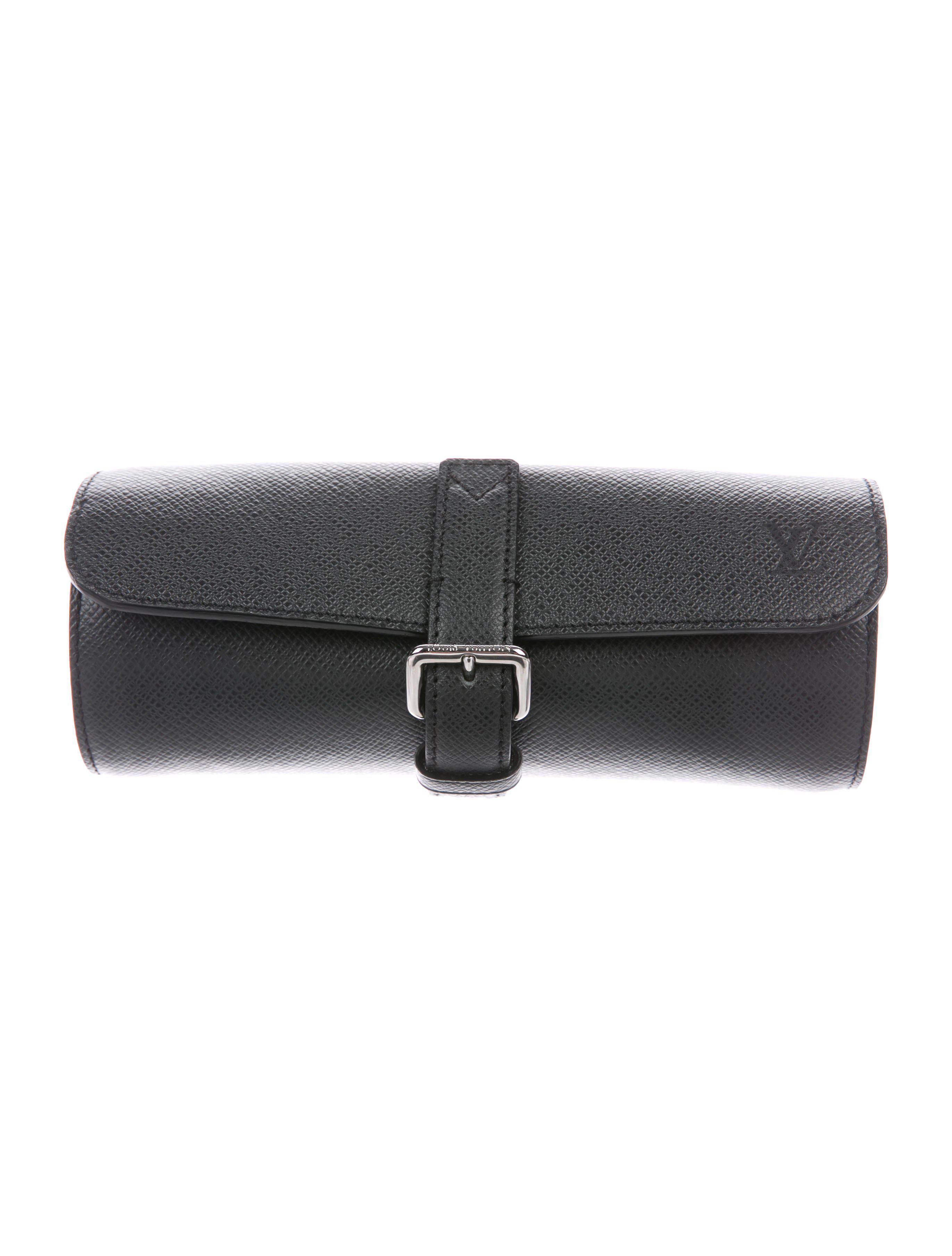 9498ca281ae6 Lyst - Louis Vuitton Taiga 3 Watch Case W  Tags Black in Metallic ...