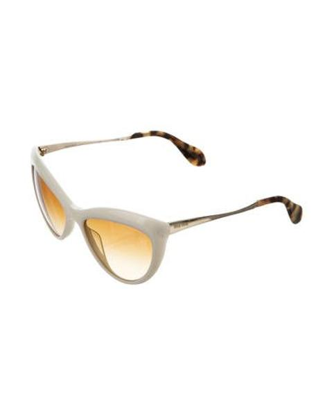 4688fb55279c Lyst - Miu Miu Miu Tinted Cat-eye Sunglasses Neutrals in Natural