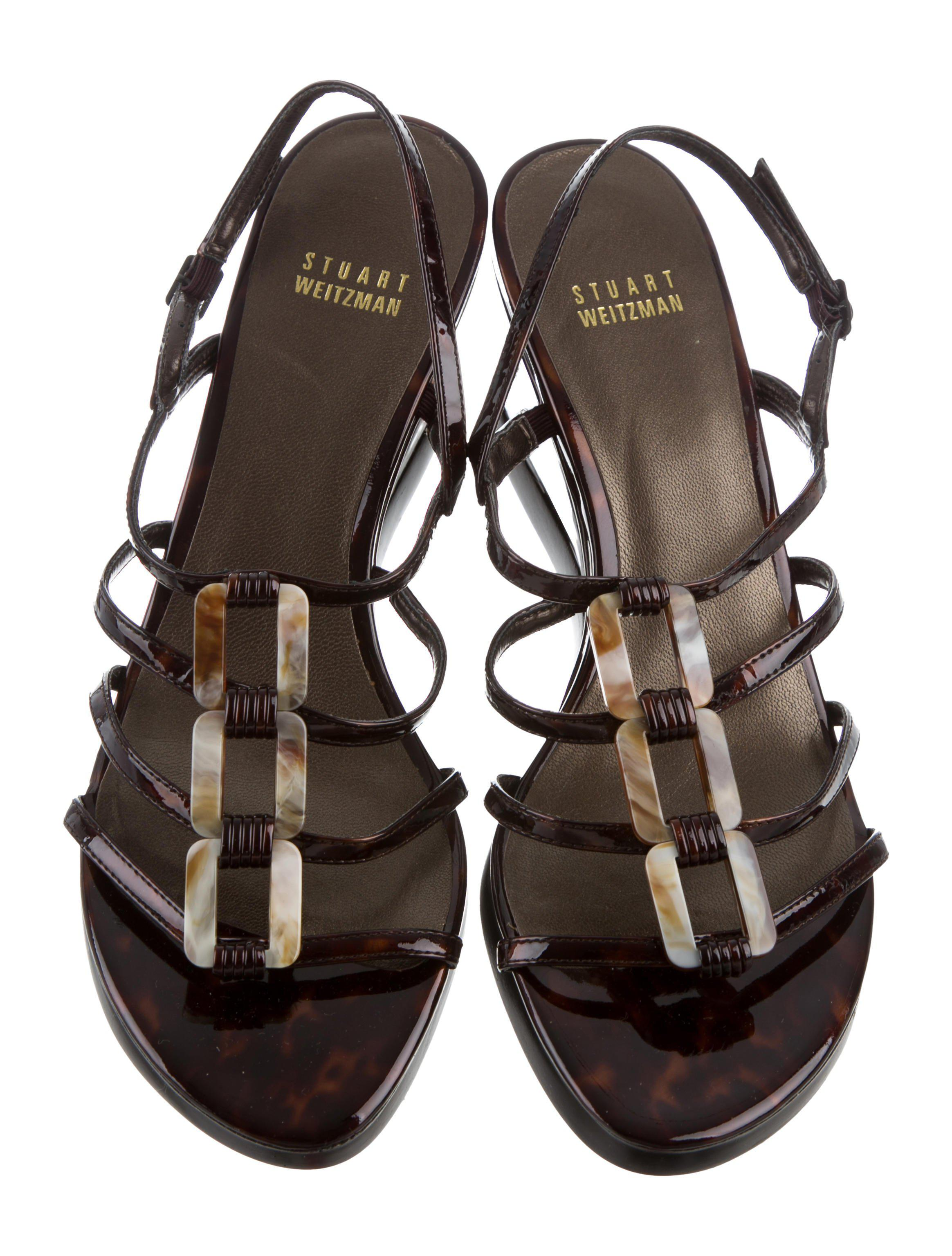 f642b02c219a0 Lyst - Stuart Weitzman Patent Leather Tortoise Shell Wedges in Brown