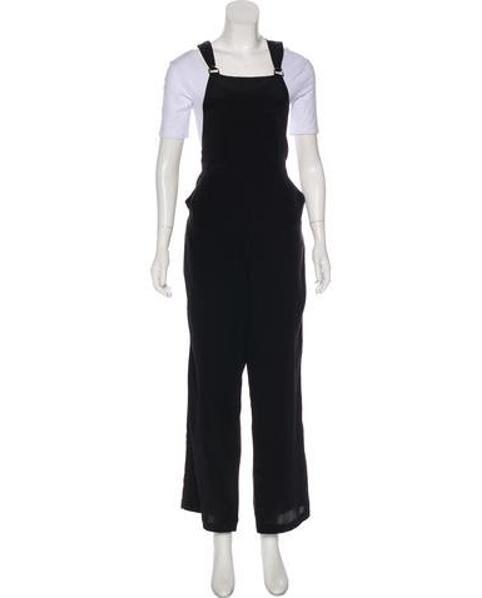 6e85e882b0e Lyst - Alexander Wang Silk Wide-leg Overalls in Black