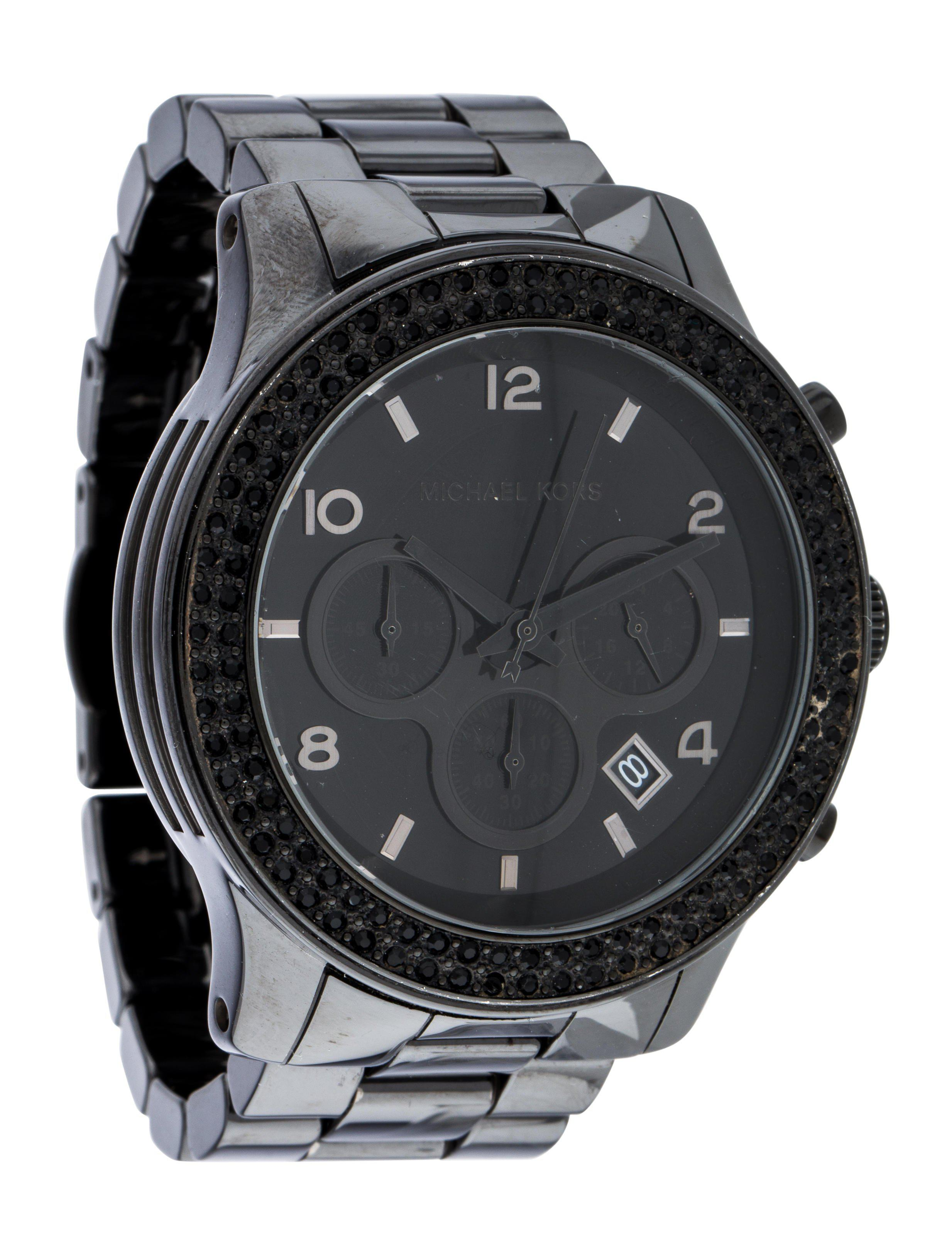 90679ba2b1e8 Lyst - Michael Kors Runway Blackout Watch Black in Metallic