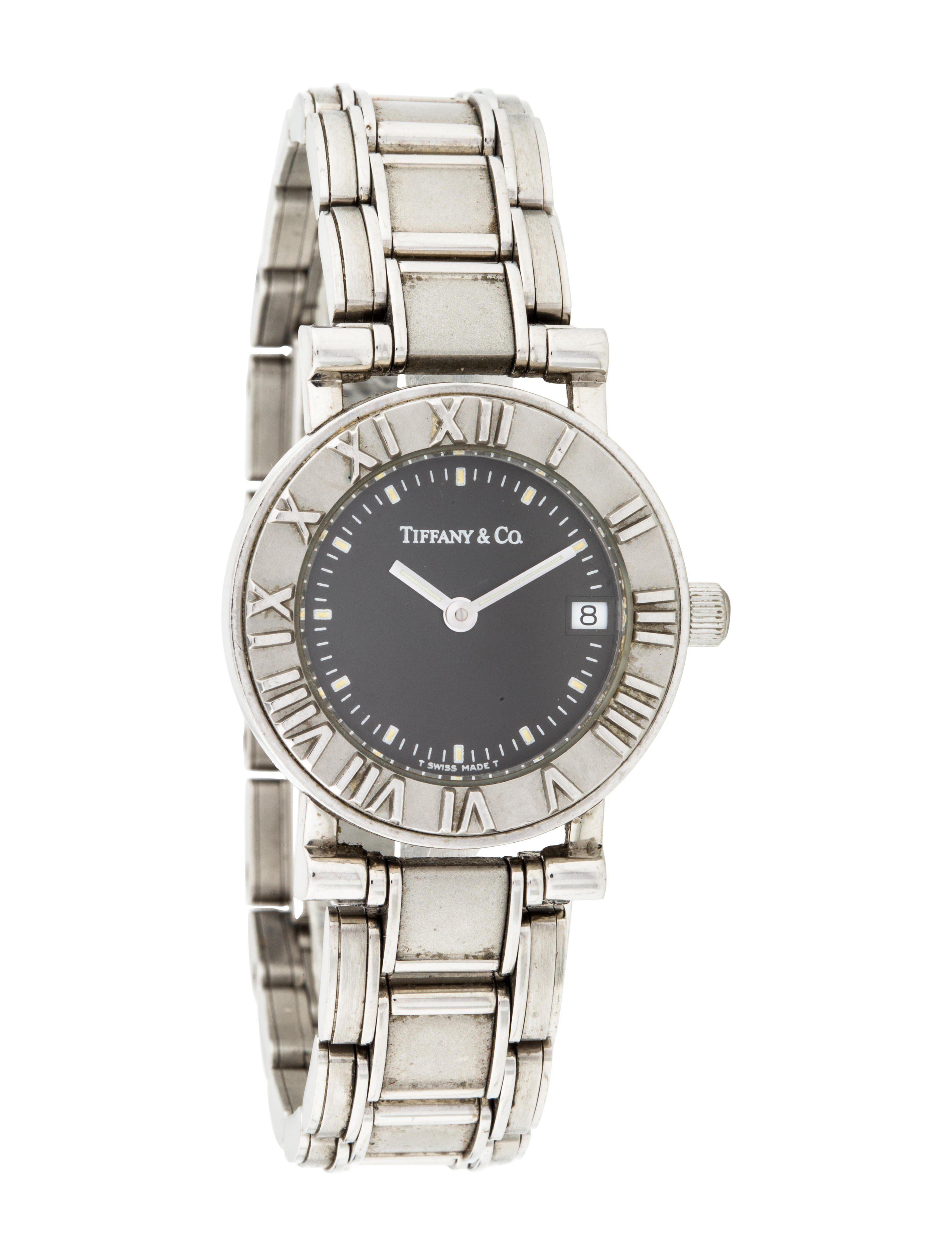 a24b71b2d7 Lyst - Tiffany   Co Atlas Watch Black in Metallic