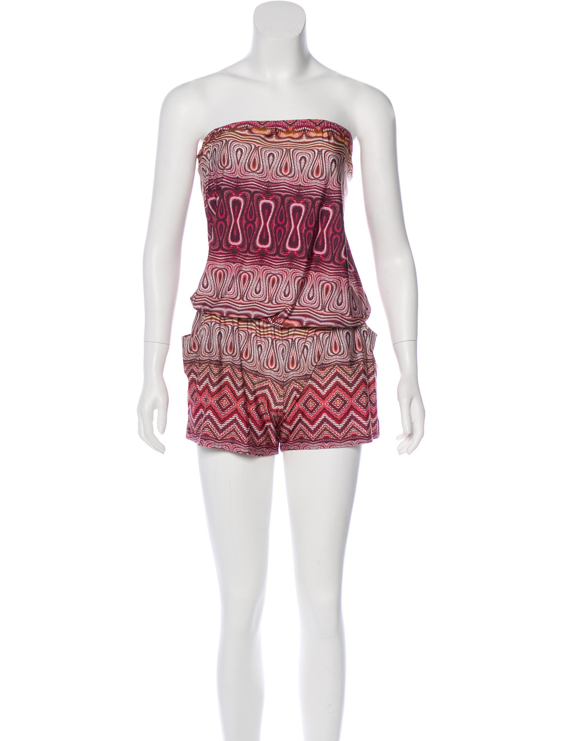 6b3411ace630 Alexis - Pink Strapless Printed Romper - Lyst. View fullscreen