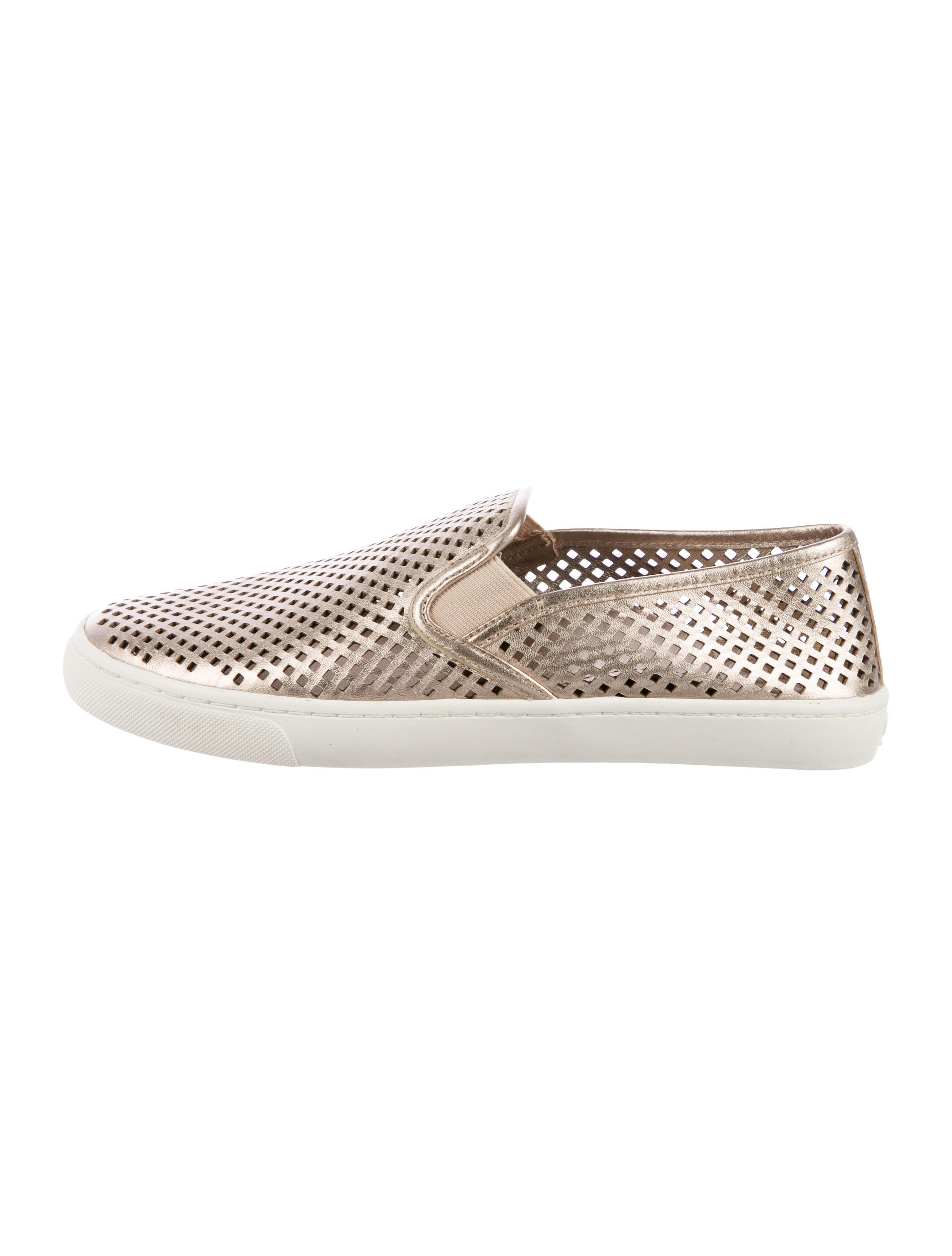 45a147610d493e Lyst - Tory Burch Perforate Leather Slip-on Sneakers Gold in Metallic