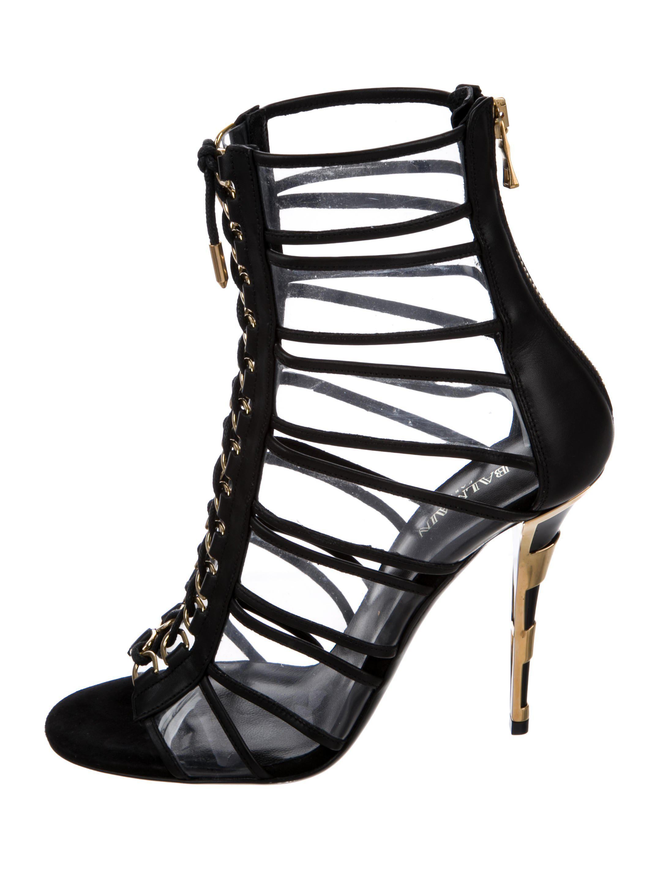 Balmain PVC Leather-Trimmed Sandals w/ Tags cheap prices cheap free shipping cheap fashion Style cheap sale free shipping D7345