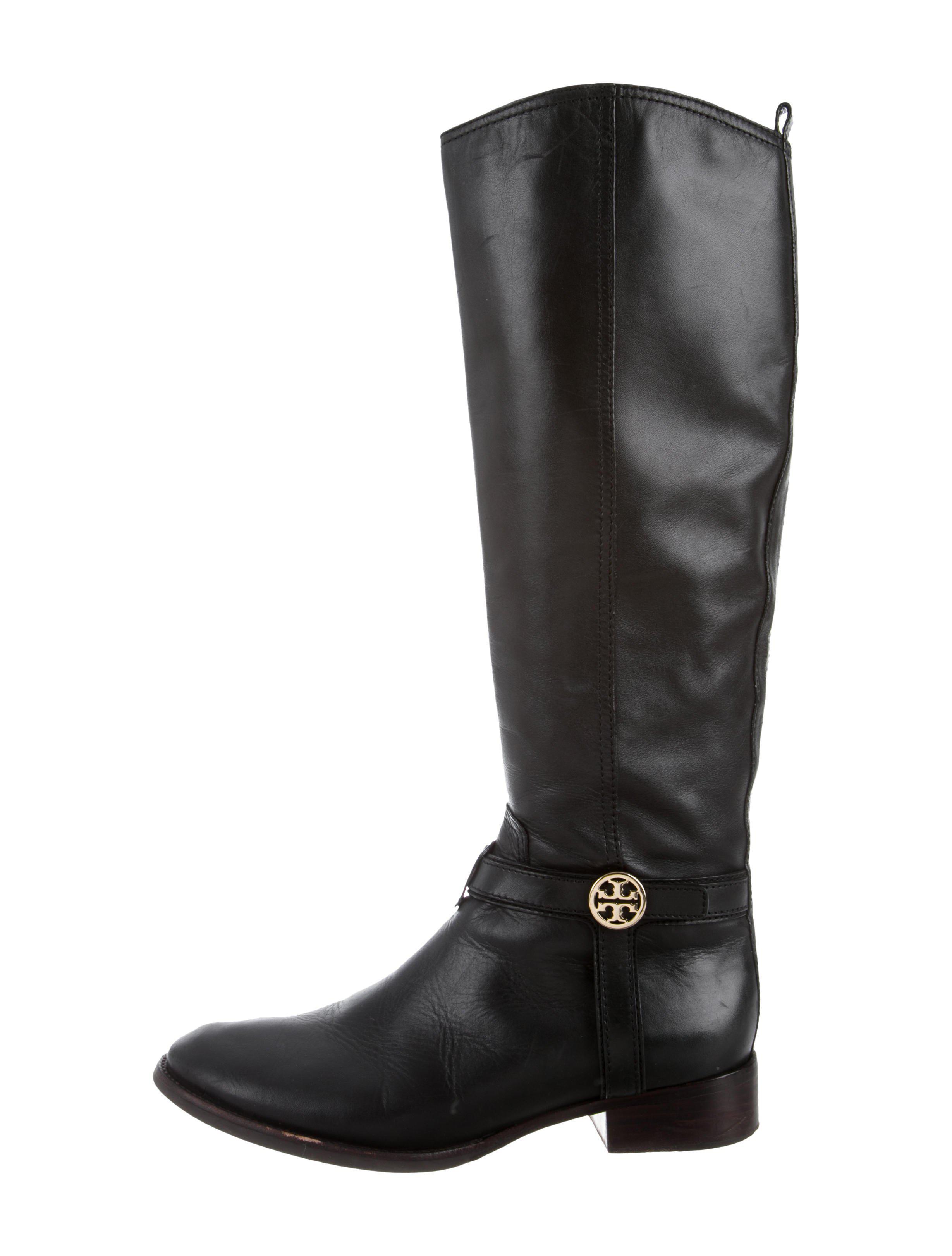 772ac25c6441a Lyst - Tory Burch Round-toe Logo Knee-high Boots Black in Metallic