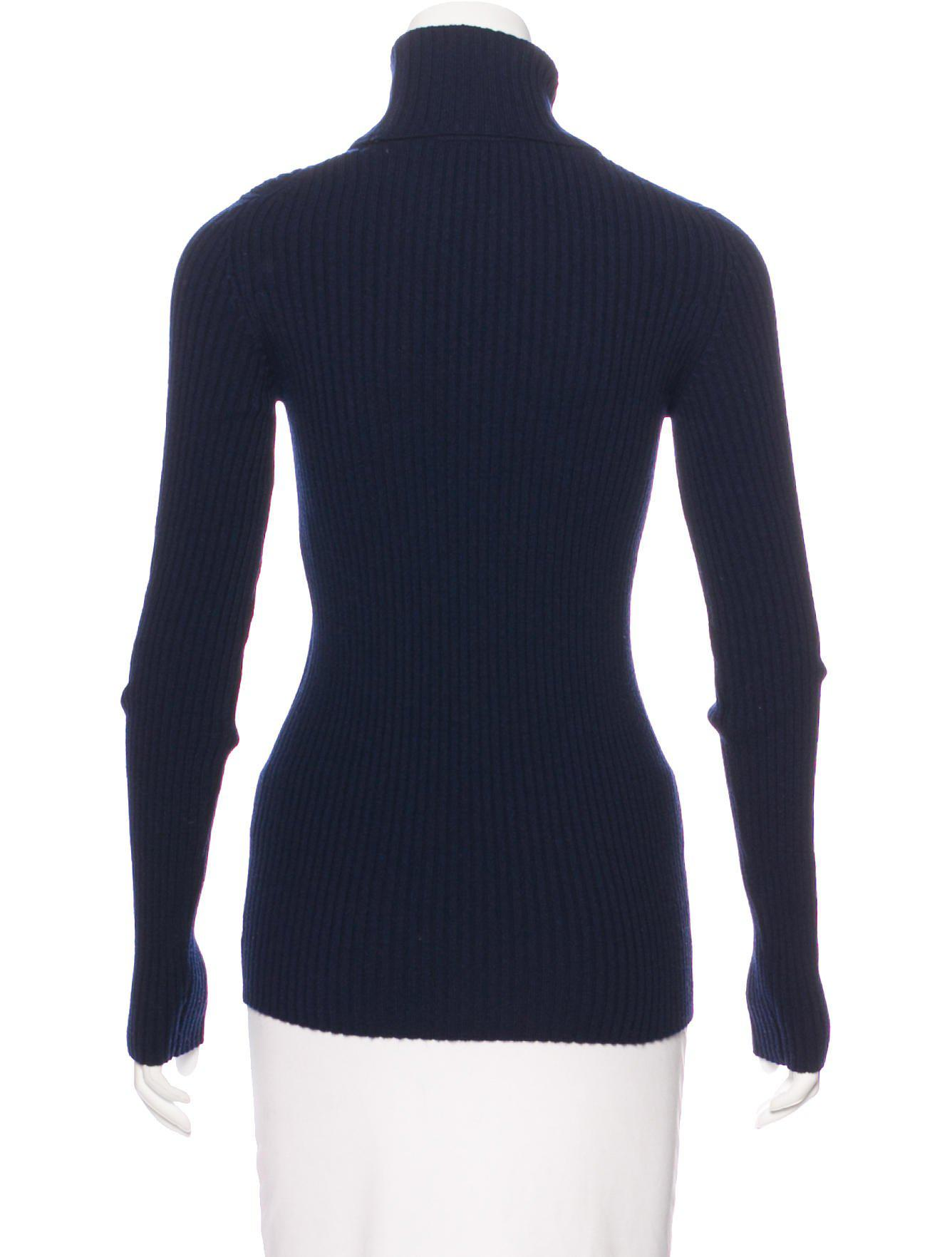 Chanel Cashmere Turtleneck Sweater Navy in Blue | Lyst
