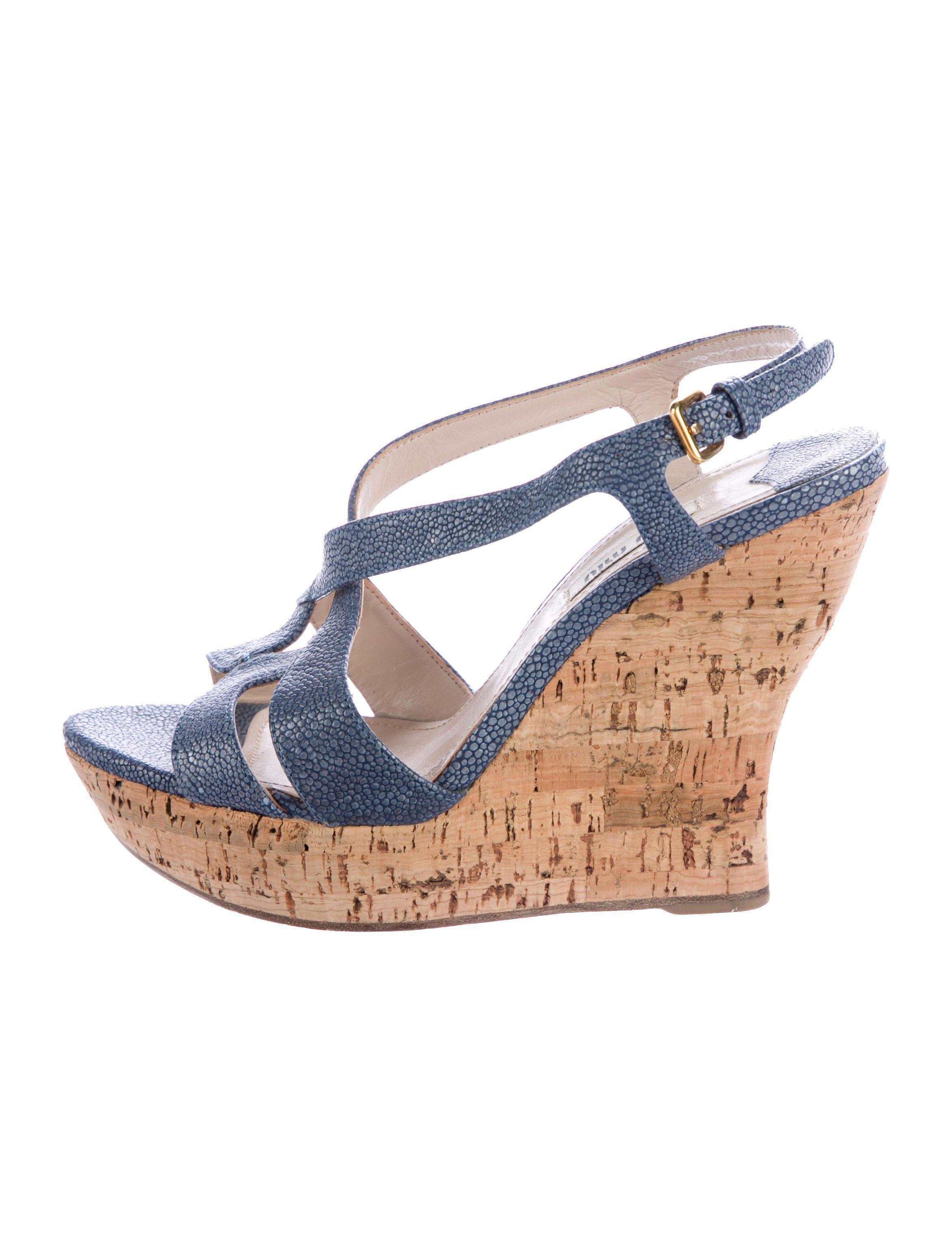 Miu Miu Embossed Wedge Sandals buy cheap many kinds of 3R1qTgCYe