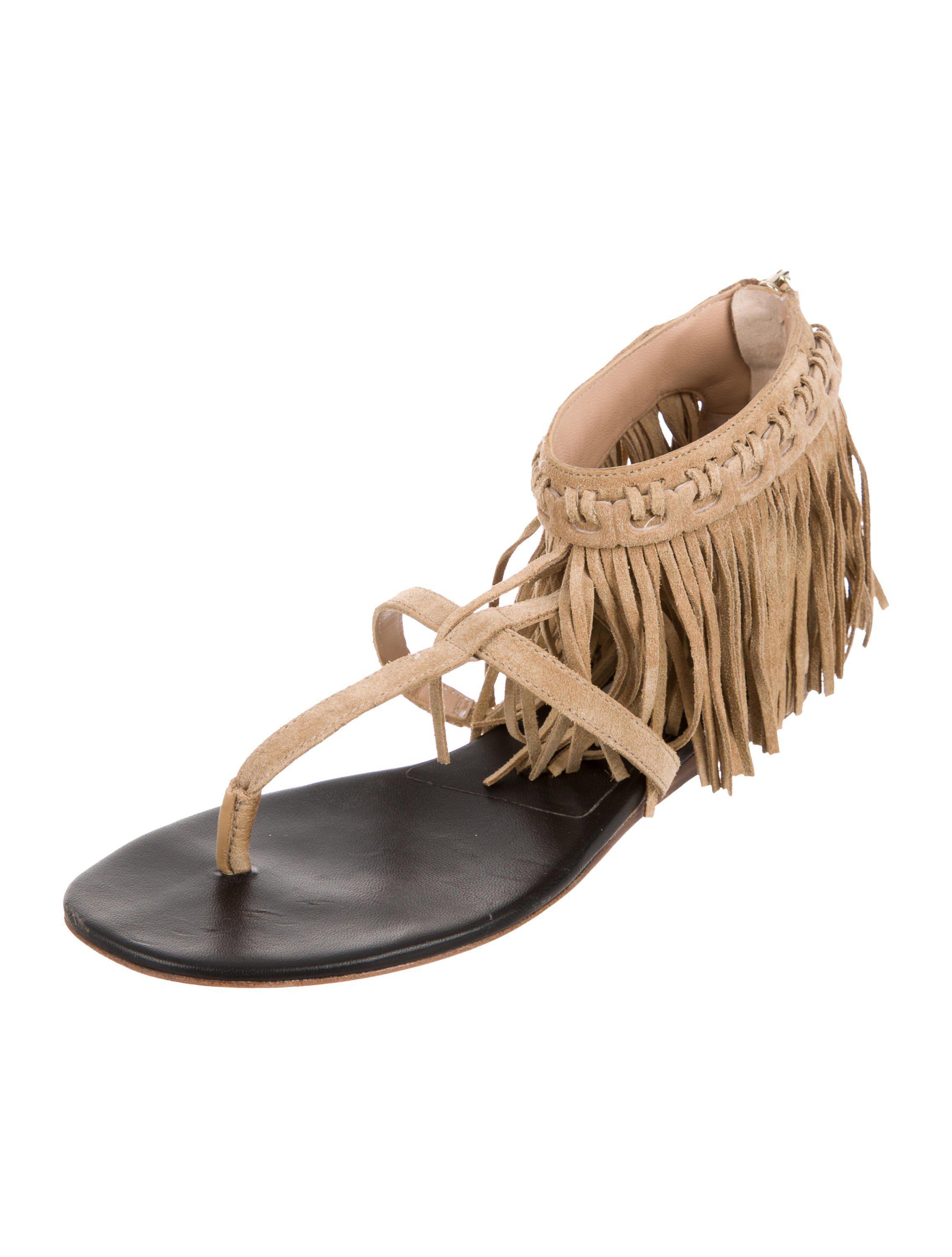 Diane von Furstenberg Fringe-Trimmed T-Strap Sandals new GCa0opV0gq
