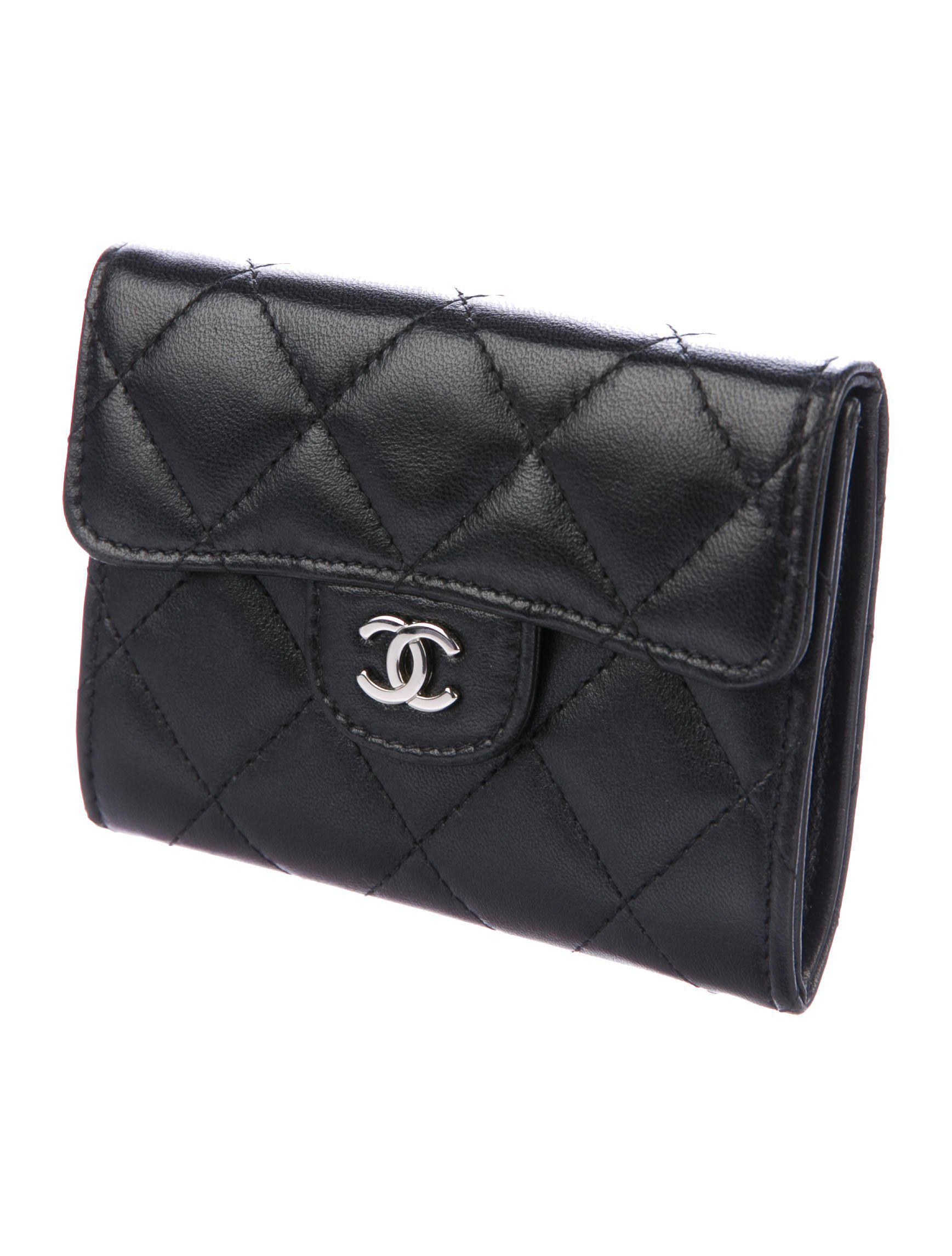 Lyst chanel quilted cc business card holder black in metallic gallery reheart Choice Image