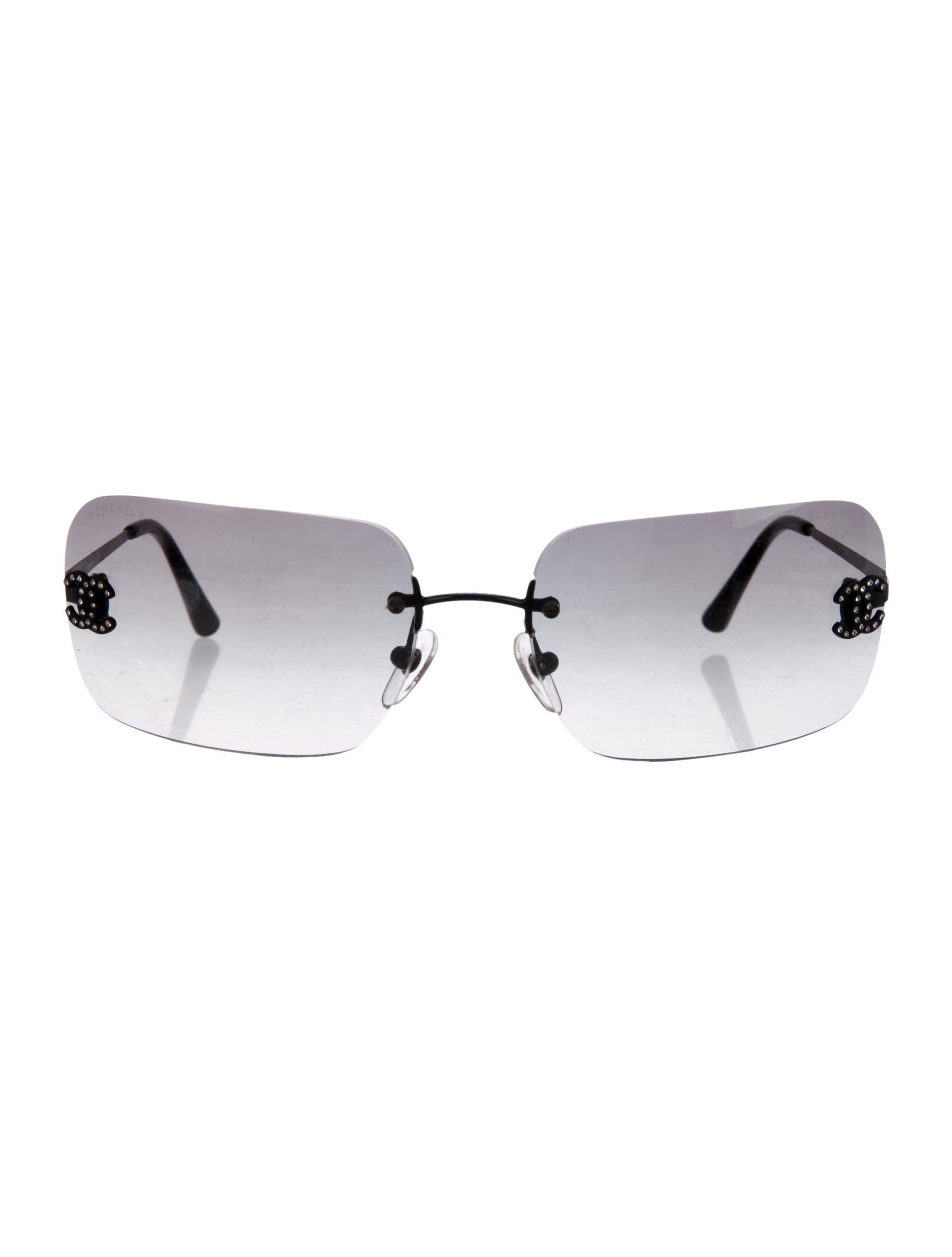 b760d60f1f2f Lyst - Chanel Cc Rimless Sunglasses in Black