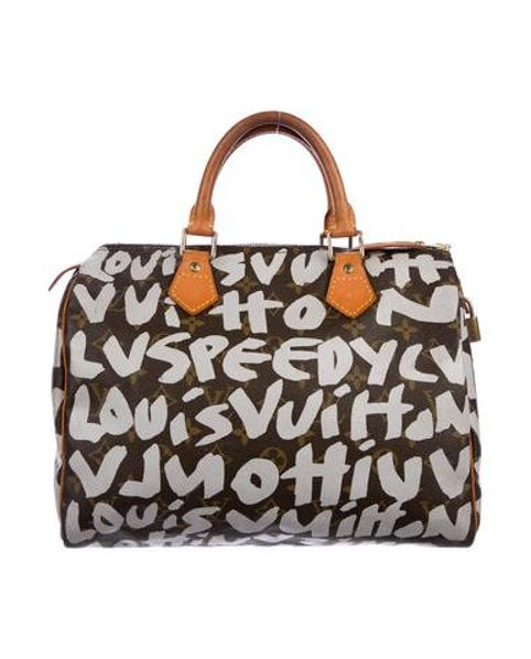 a1560ab88b67 Lyst - Louis Vuitton Grafitti Speedy 30 Brown in Natural