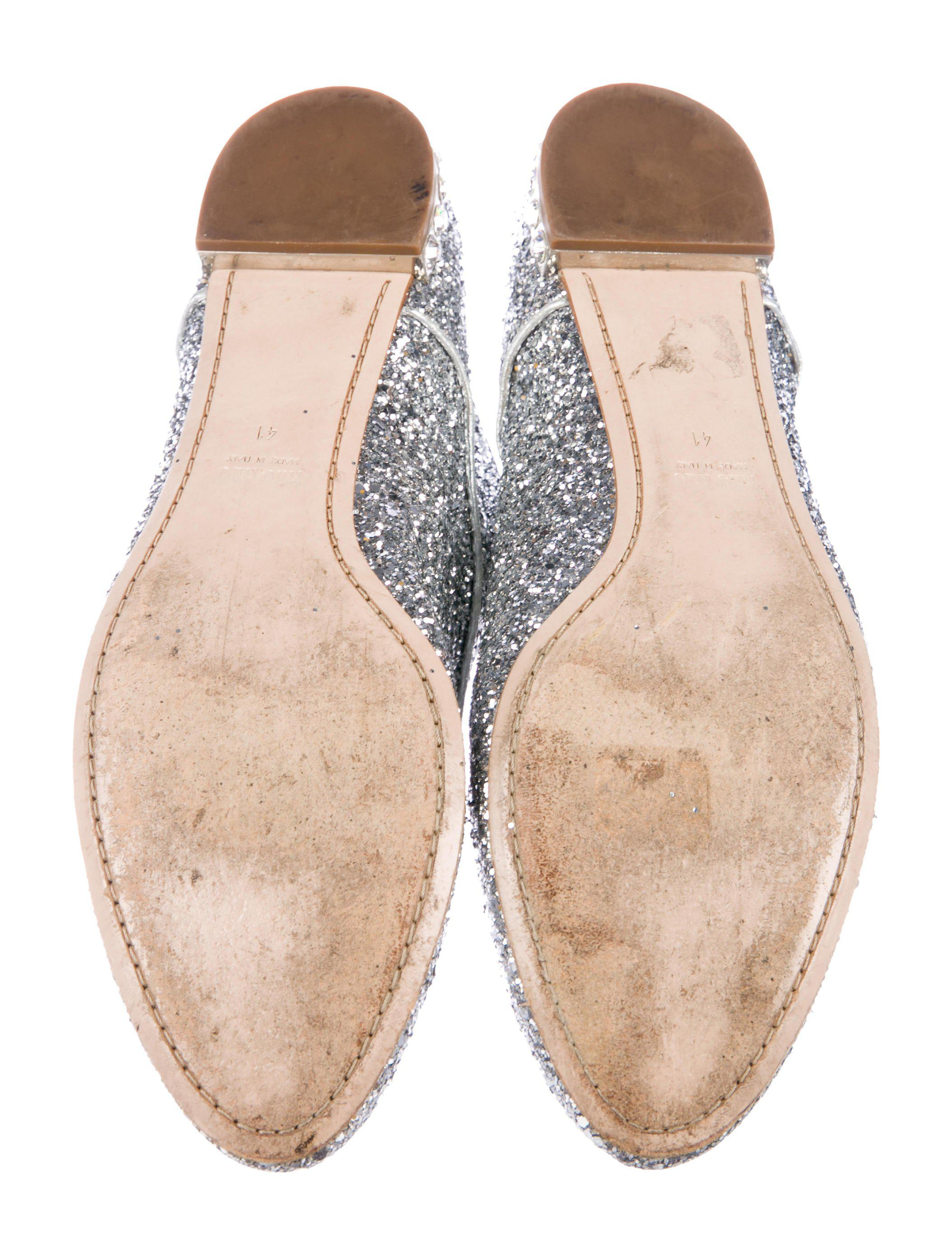 1ed7ca48e328 ... Metallic Miu Glitter Round-toe Oxfords Silver - Lyst. View fullscreen