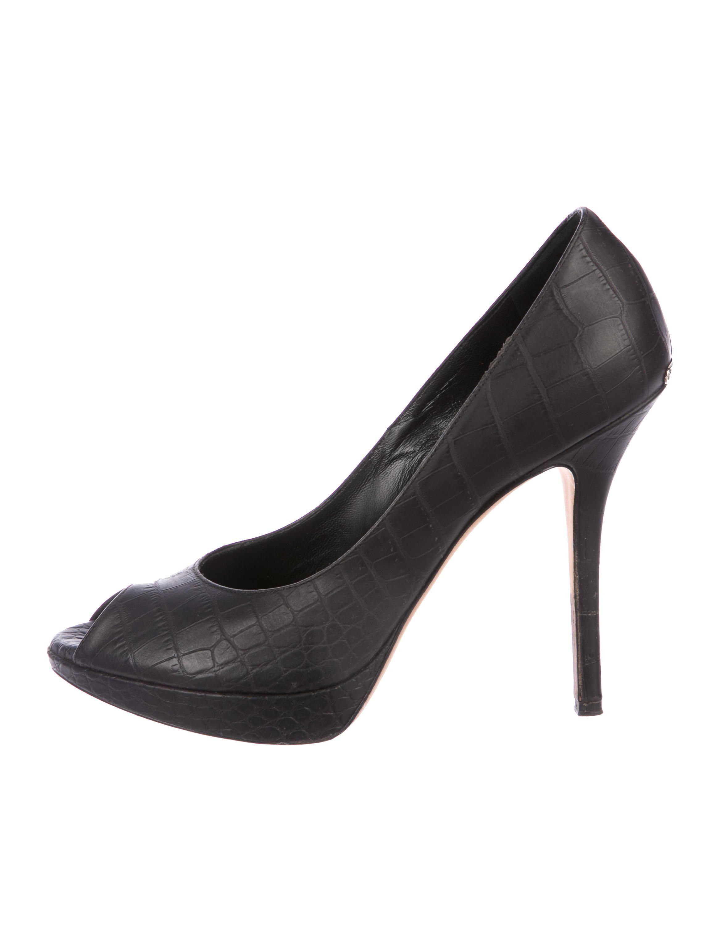 affordable sale online Christian Dior Embossed Leather Peep-Toe Pumps best wholesale cheap price xyUBH8v