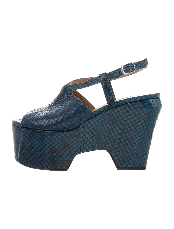 24b553c8bb0 Lyst - Dries Van Noten Snakeskin Platform Sandals in Blue