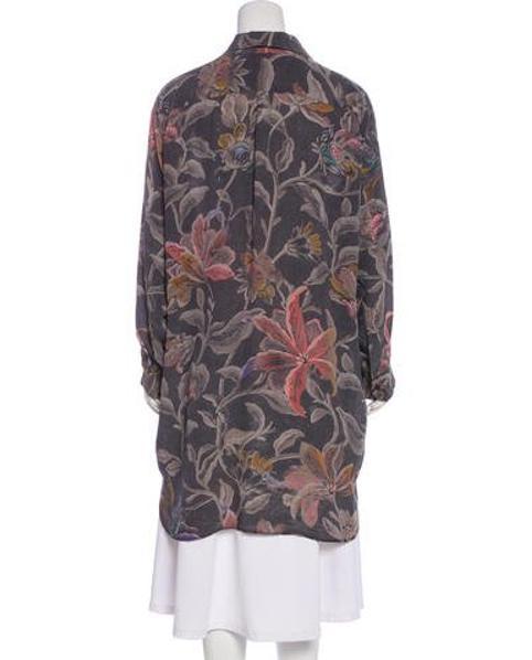 24f6f429 Dries Van Noten - Gray Silk Floral Print Button-up Grey - Lyst. View  fullscreen