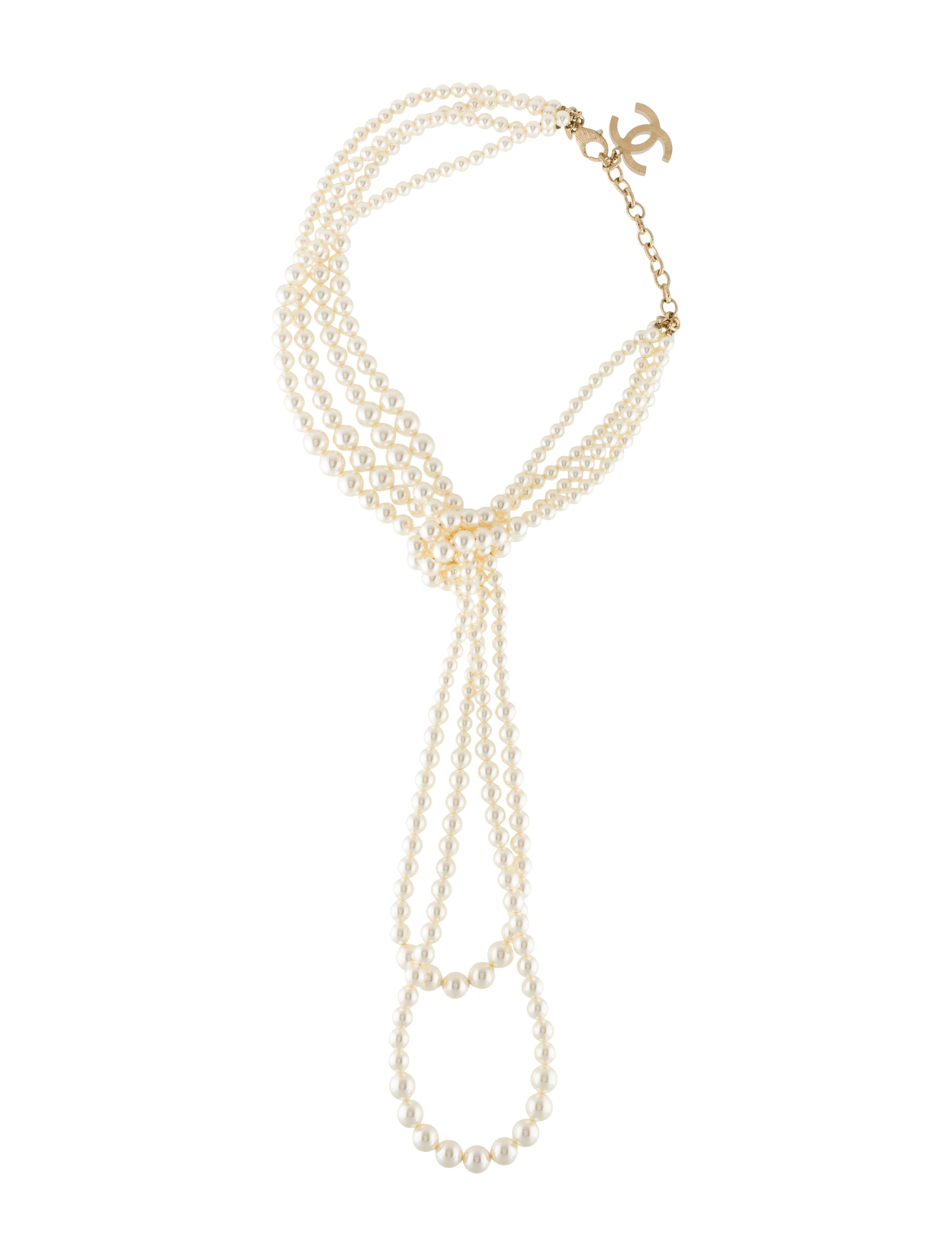 b1b056222 Lyst - Chanel Faux Pearl Multistrand Lariat Necklace Gold in Metallic