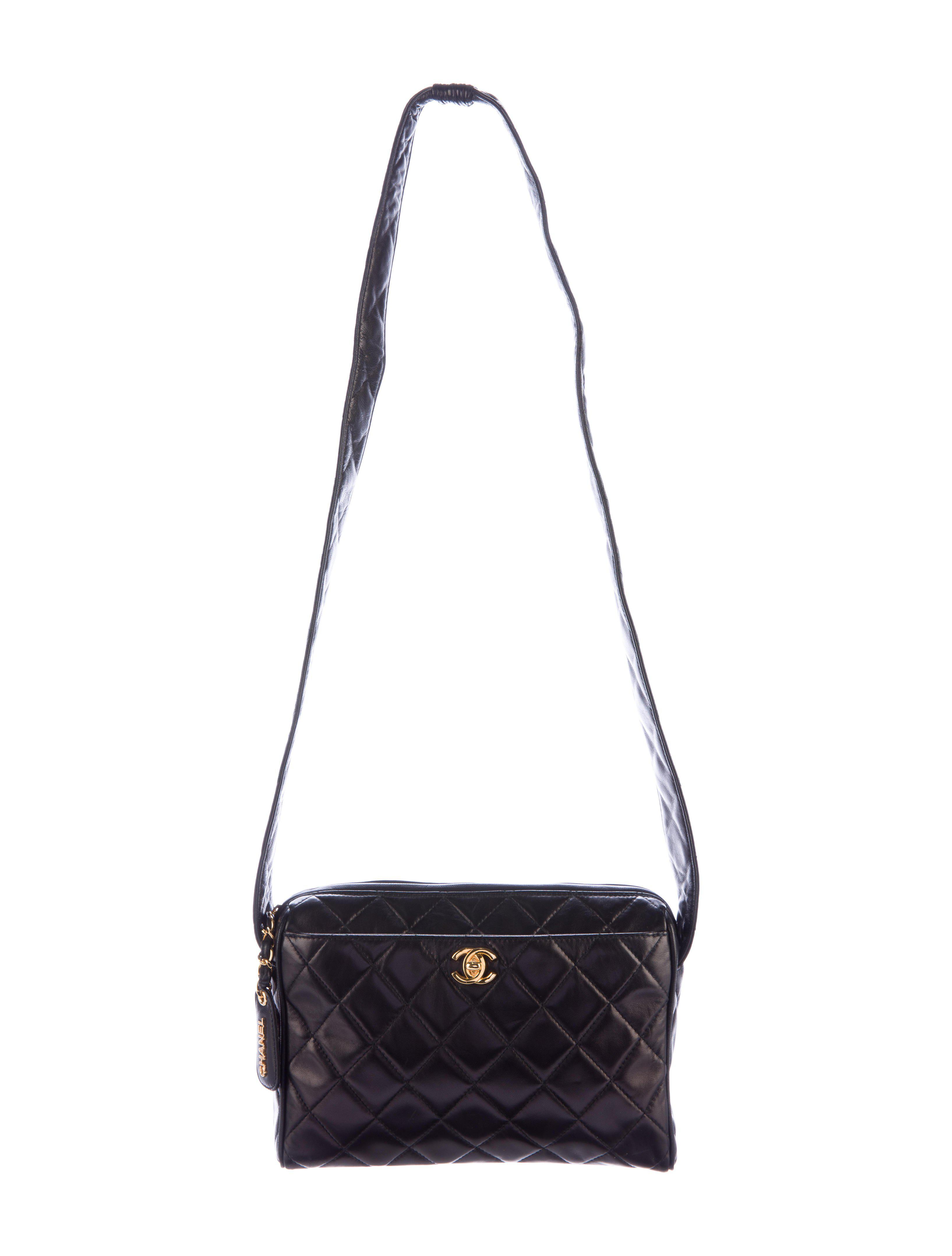 a8319f1ab3c5 Lyst - Chanel Lambskin Quilted Messenger Bag Black in Metallic