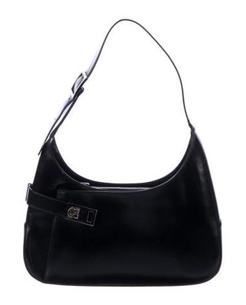 4c1f5c027d24 Lyst - Ferragamo Leather Gancio Shoulder Bag Black in Metallic