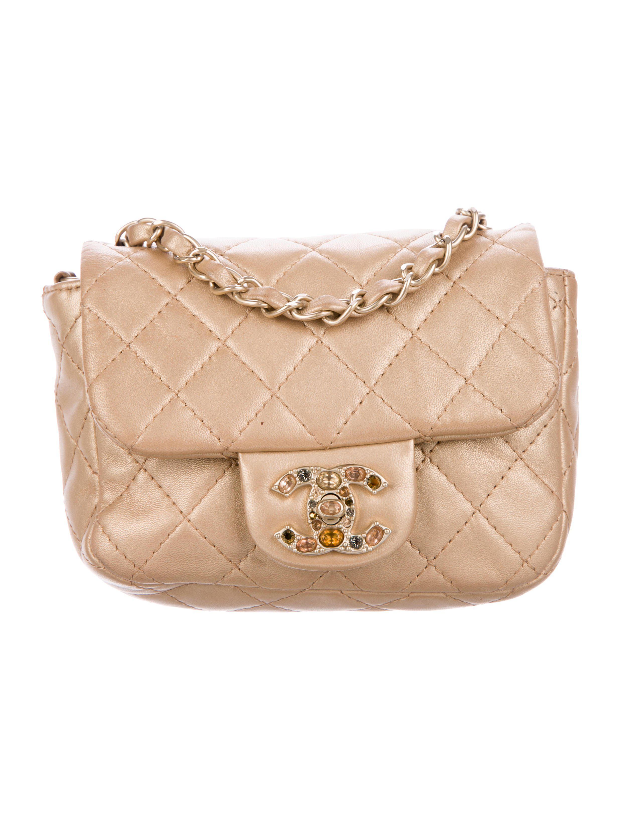 a47682fb0ccb Lyst - Chanel Embellished Square Classic Flap Bag in Metallic