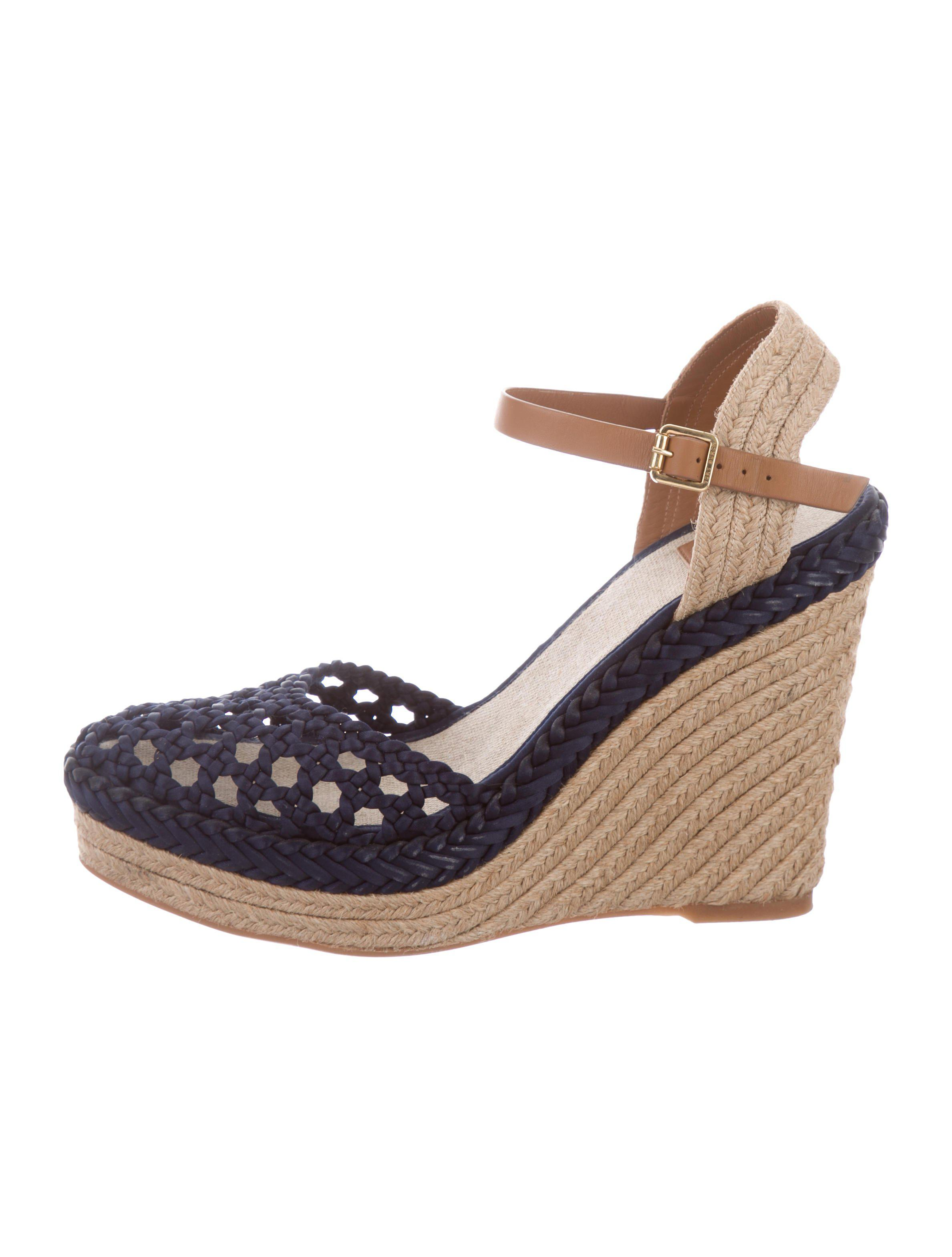 96461def70 Lyst - Tory Burch Ankle Strap Espadrille Wedges Navy in Natural