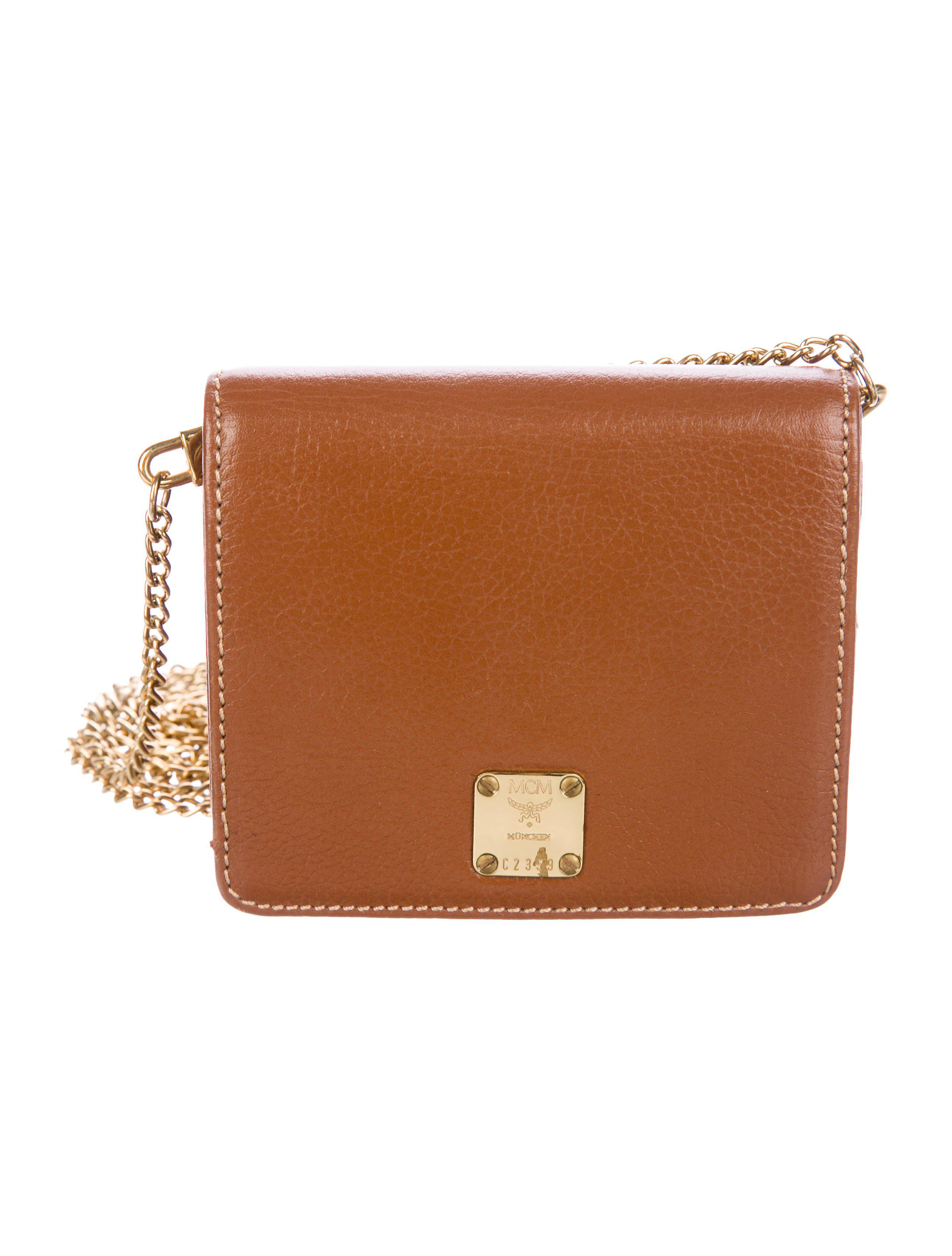 c57333ee0674 MCM - Metallic Mini Leather Crossbody Bag Brown - Lyst. View fullscreen